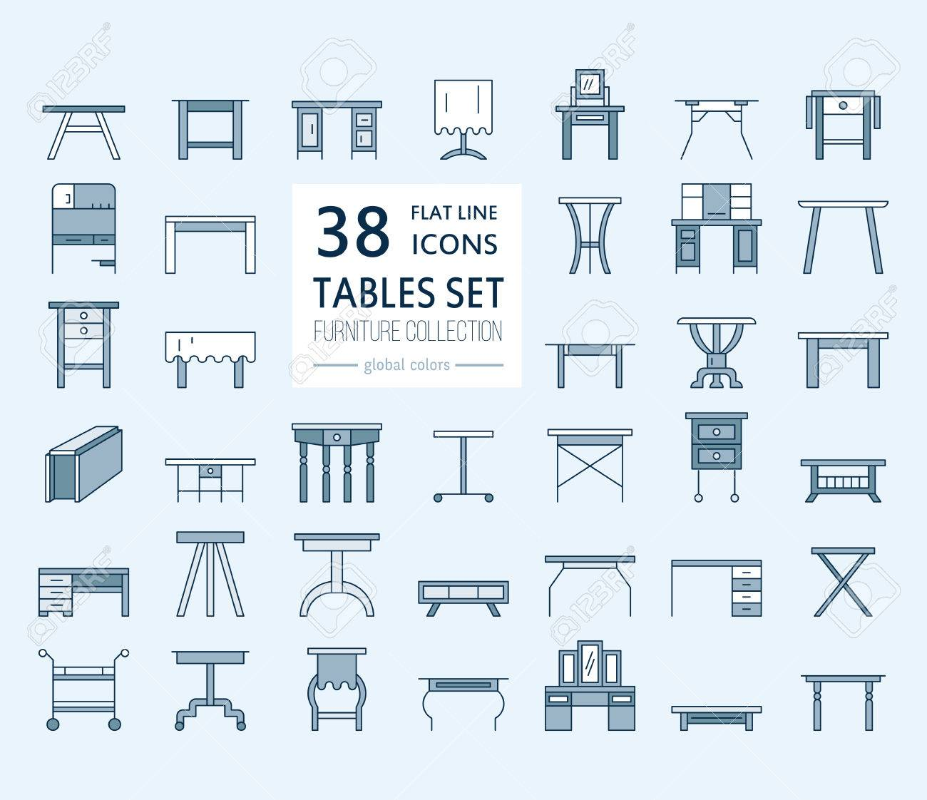 Vector Furniture Line Icons Table Symbols Silhouette Of Different