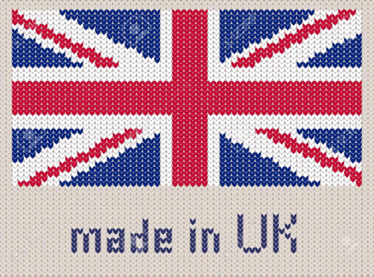 Union Jack Knitted Pattern, UK Flag. Modern Vector Ornament ...