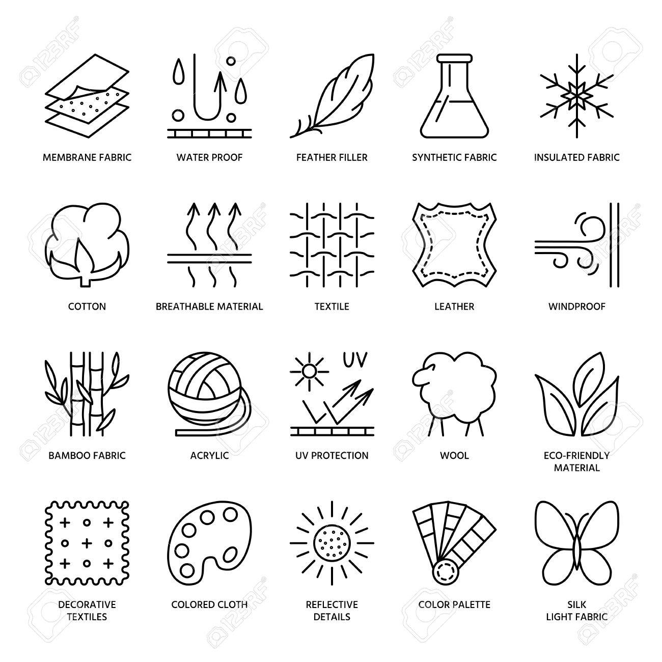 Vector line icons of fabric feature, garments property symbols. Elements - cotton, wool, waterproof, uv protection. Linear wear labels, textile industry pictograms with editable stroke for clothes. - 66482055