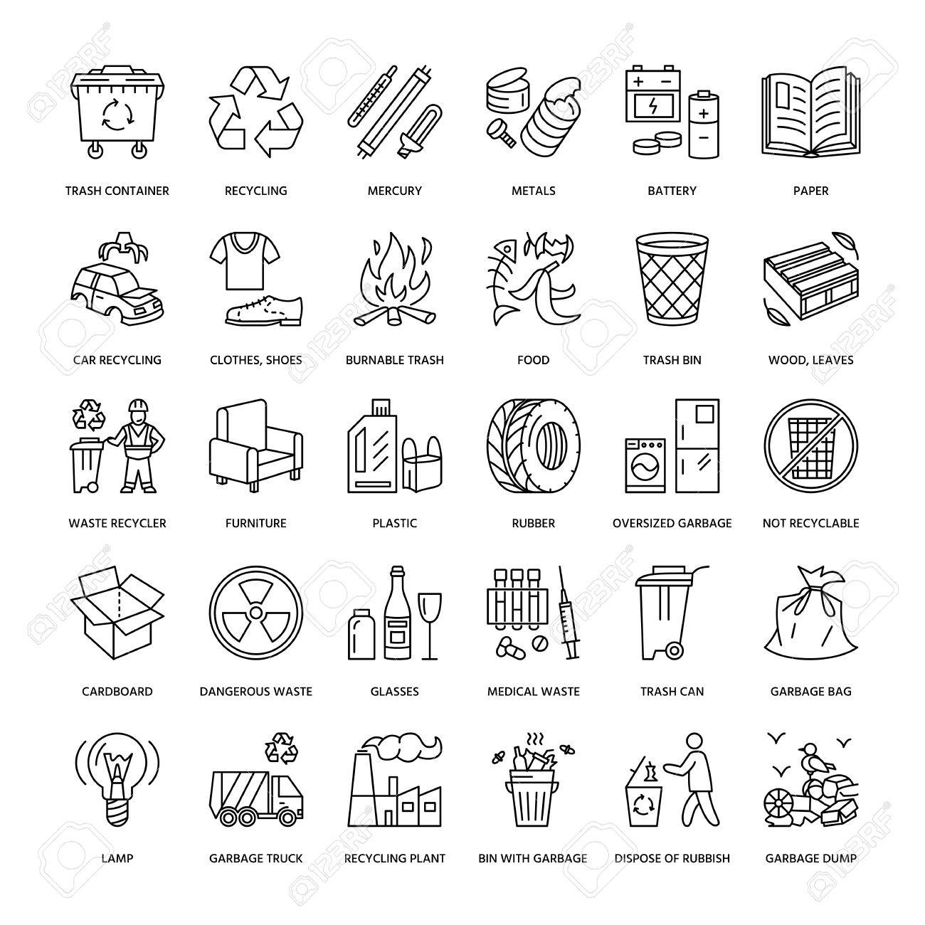 Modern vector line icon of waste sorting, recycling. Garbage collection. Recyclable waste - paper, glass, plastic, metal. Linear pictogram with editable stroke for poster, brochure of waste management - 66482542