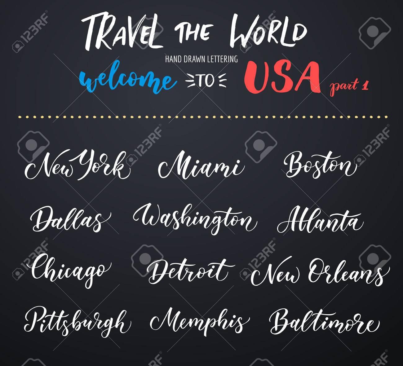 Letras De La Ciudad Estadounidense Vector. Tipografía, EE.UU ...
