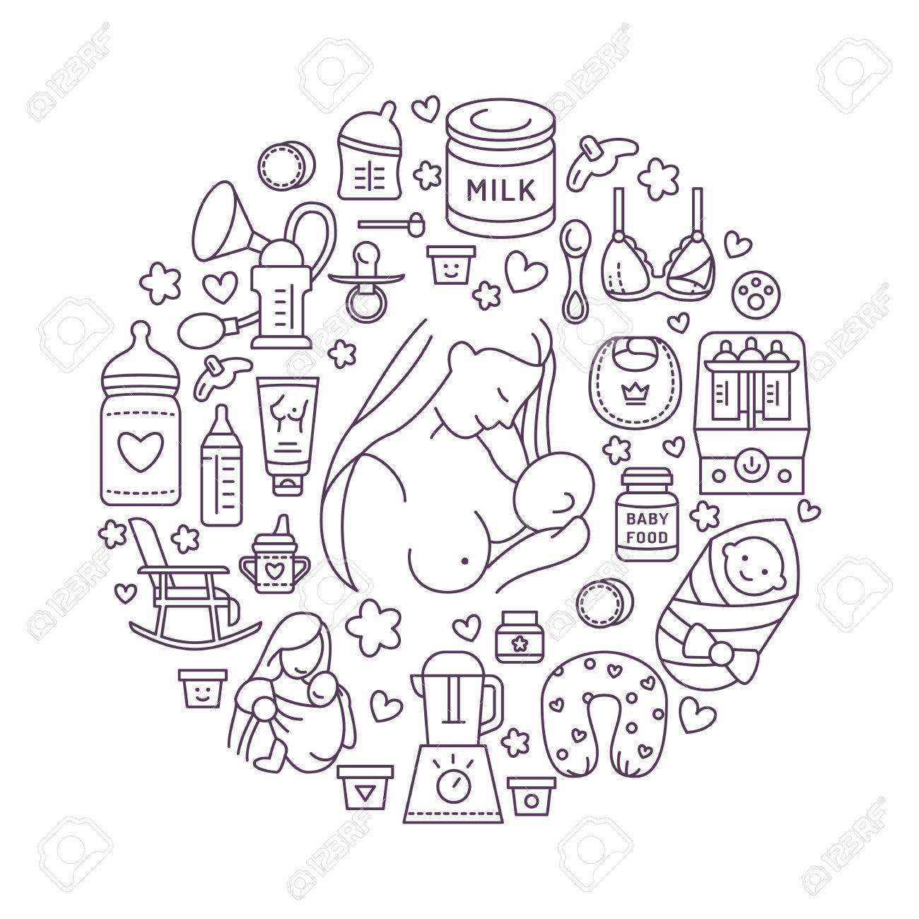 Breastfeeding poster template. Vector line illustration of feeding, baby food. Nursery element: pump, breastfeeding, powdered milk, bottle sterilizer, baby. Maternity banner design - 66482568