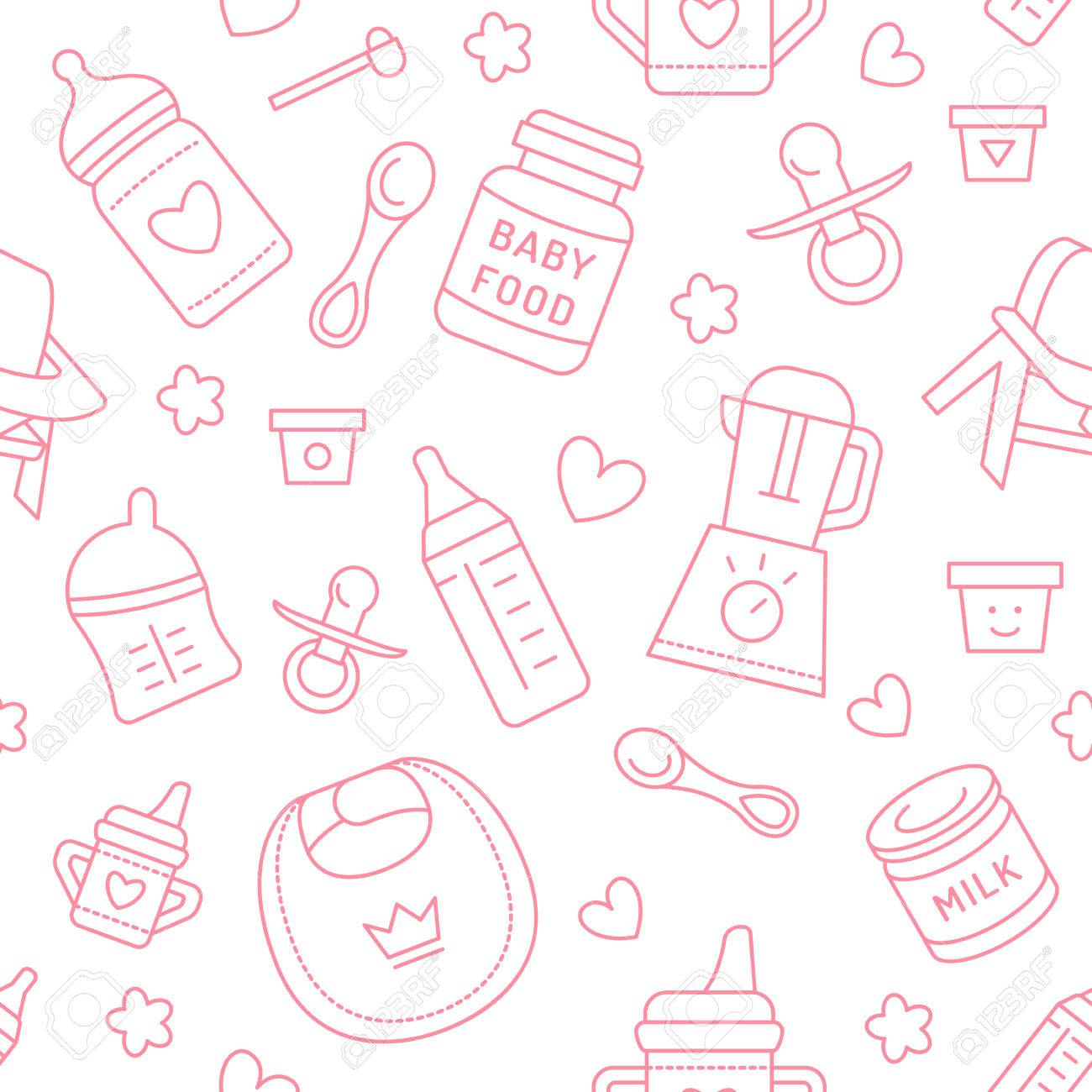 Seamless pattern baby food pastel color vector illustration imagens seamless pattern baby food pastel color vector illustration infant feeding thin line icons cute repeated pink texture baby item for packaging stopboris Image collections