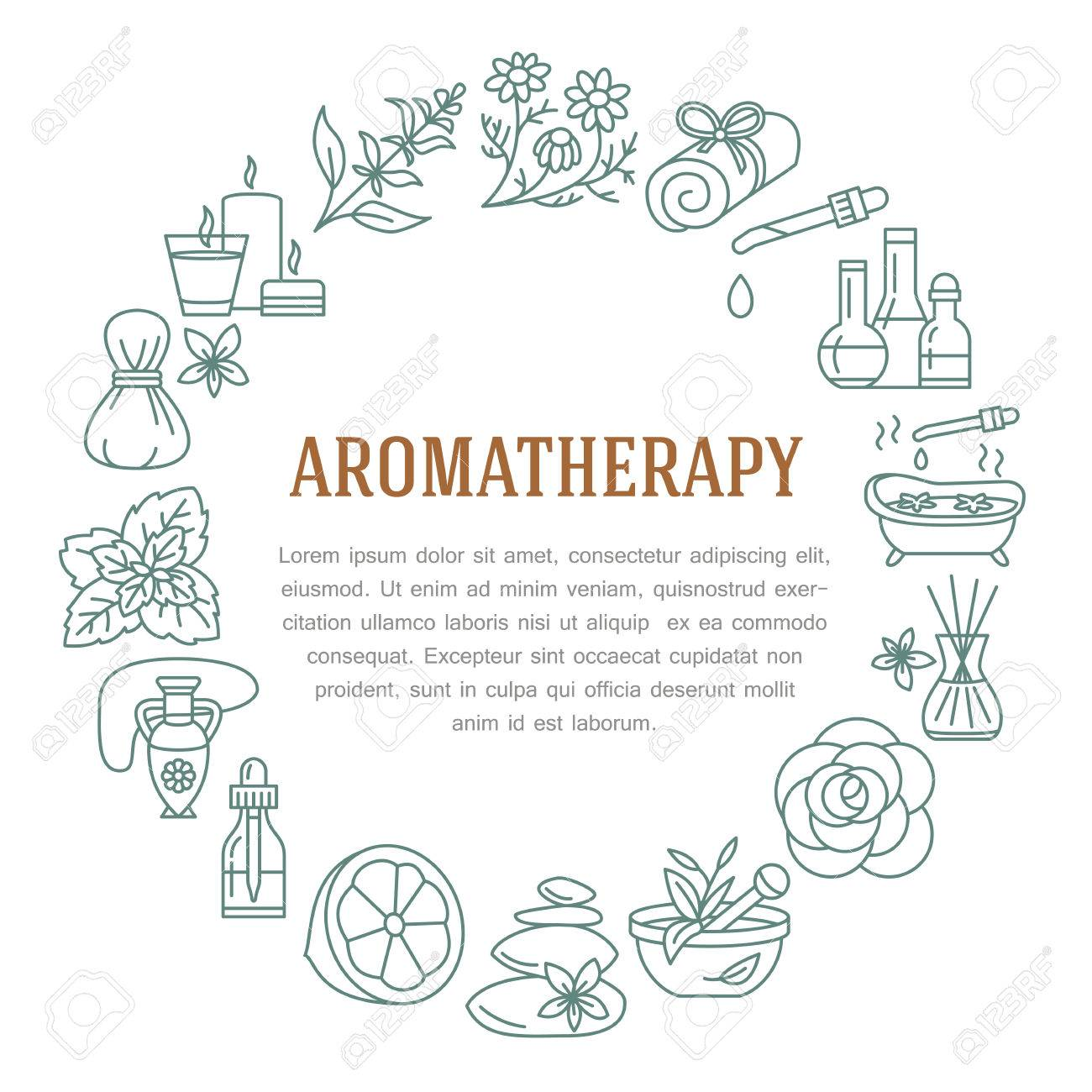 Aromatherapy and essential oils circle template. Vector line illustration of aromatherapy diffuser, oil burner, spa candles, incense sticks, herbal bag massage. Essential oils poster, editable stroke - 66482579