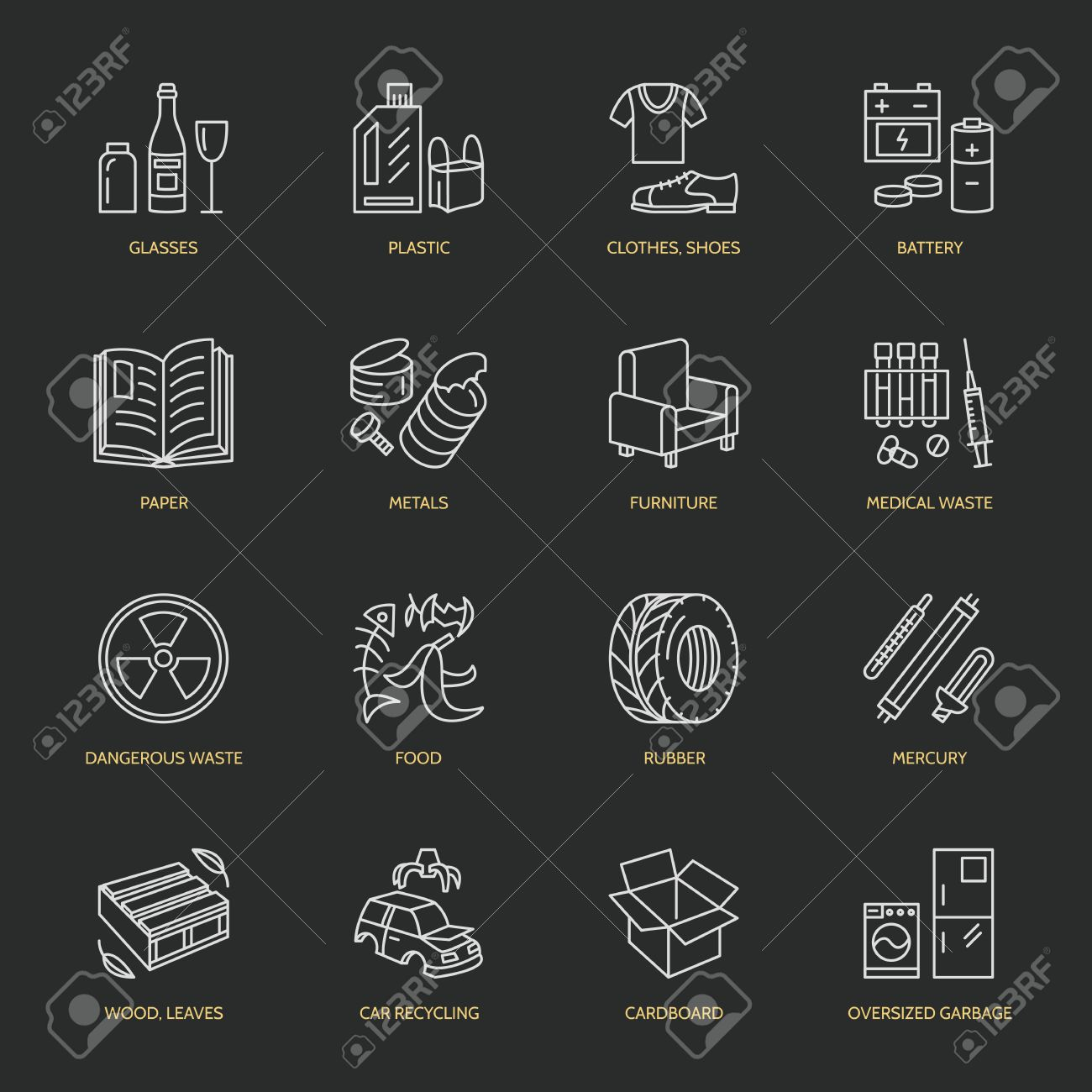 Modern vector thin line icons of waste sorting, recycling. Garbage collection. Recyclable trash - paper, glass, plastic, metal, wood. Linear pictogram for poster, brochure of recycling management. - 66482582