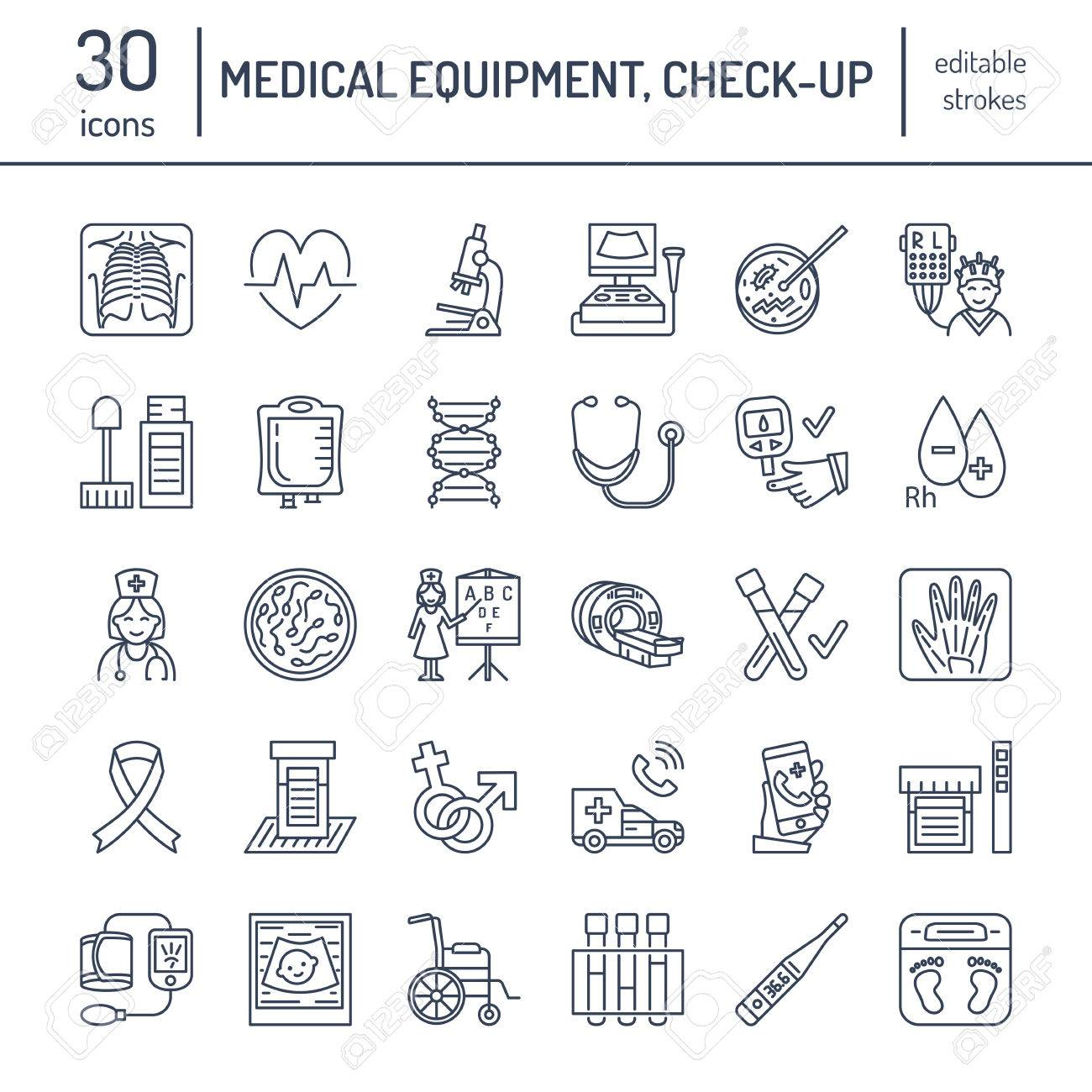 Vector thin line icon of medical equipment, research. Medical check-up, test elements - MRI, xray, glucometer, blood pressure, laboratory. Linear pictogram with editable stroke for clinic, hospital. - 66482587