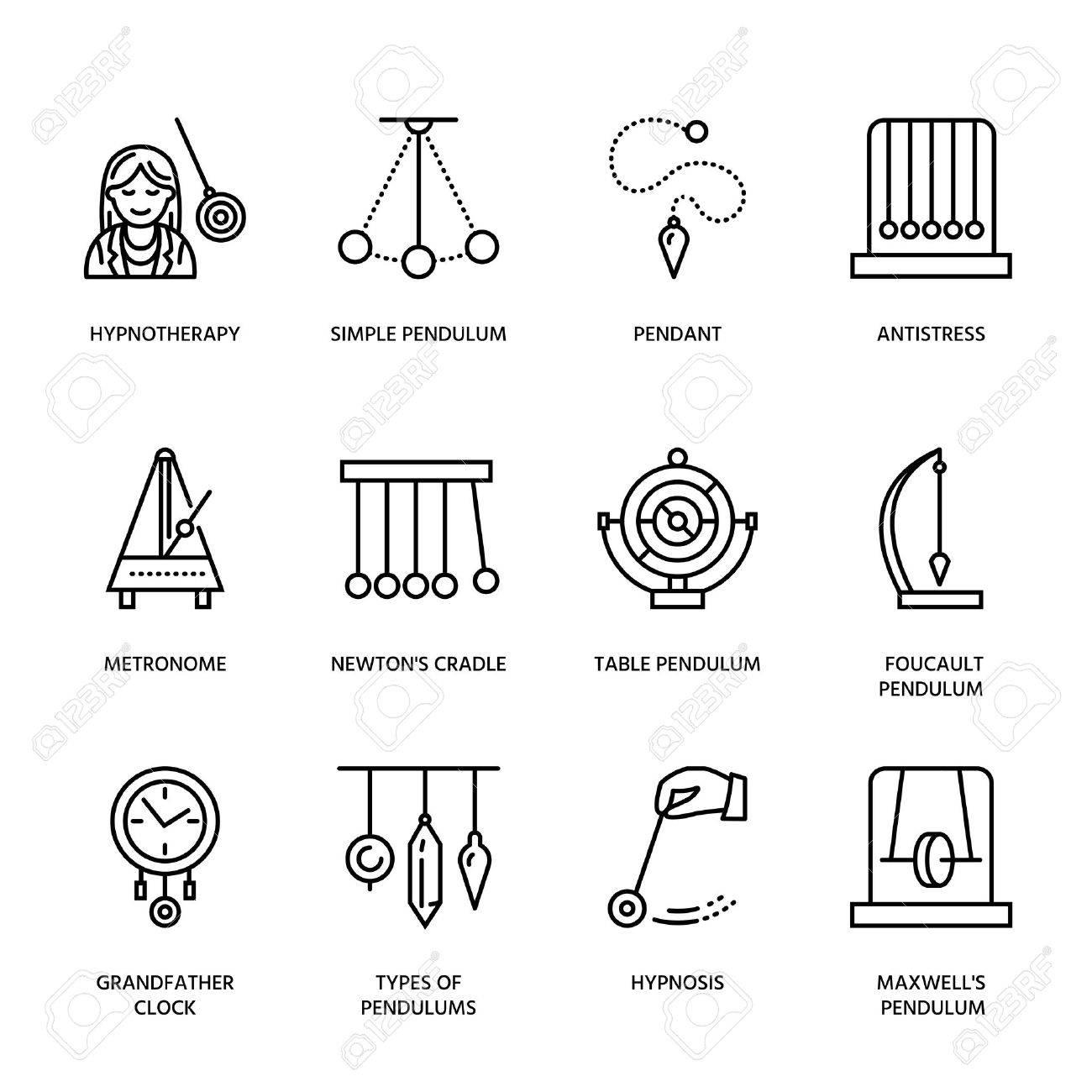 Vector line icon of pendulum types. Newton cradle, metronome, table pendulum, perpetuum mobile, gyroscope. Linear pictogram editable stroke for site, brochure of hypnosis, hypnotherapy. Pendulum logo. - 66482626