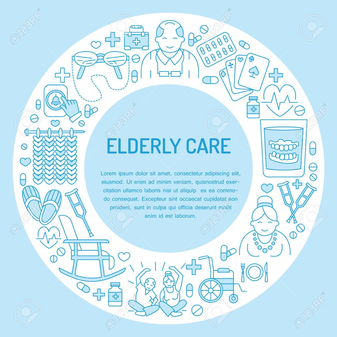 Modern vector line icon of senior and elderly care. Medical poster template with illustration of old people, wheelchair, leisure, hospital call button, doctor. Linear banner for nursing home - 66482634