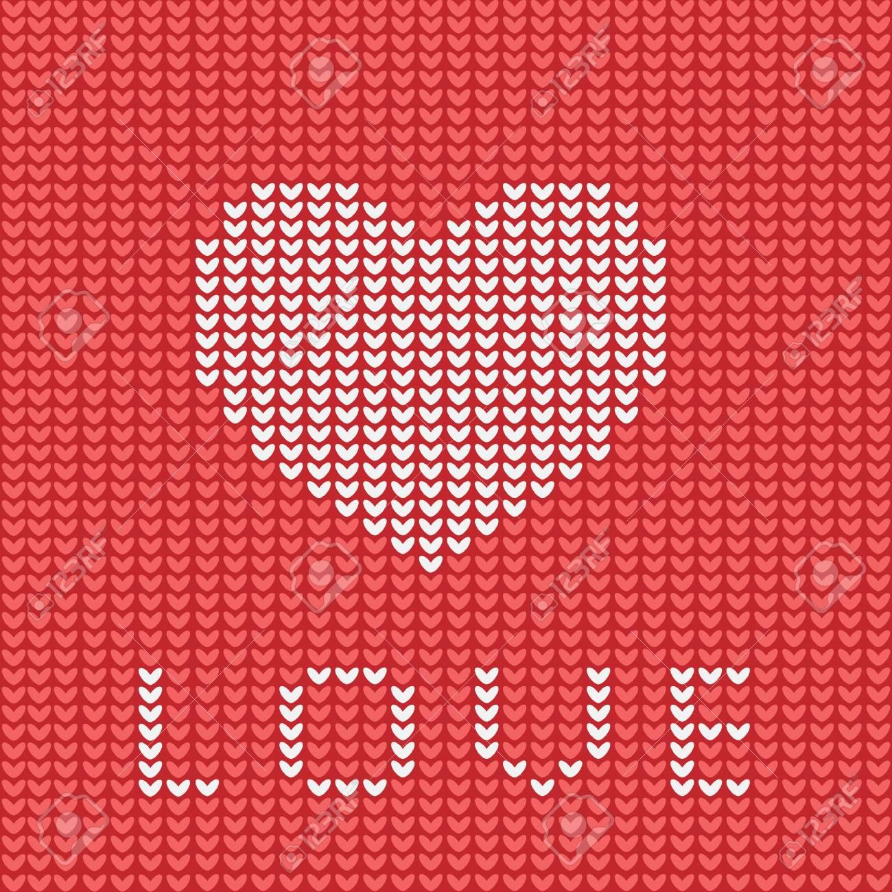 Knitting Is Love. Knitted Heart Symbol. Modern Vector Knitting ...