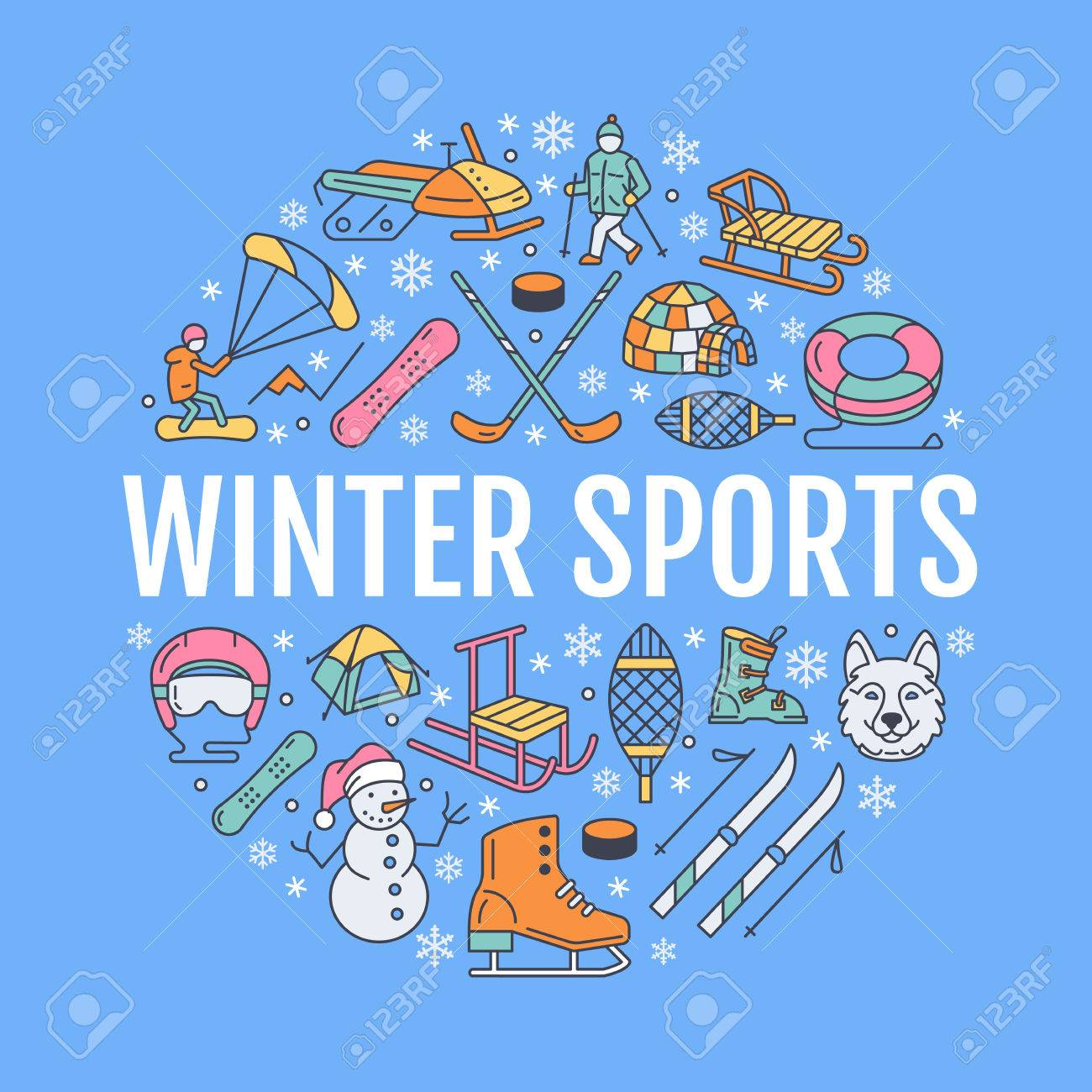 Winter sports banner, equipment rent at ski resort. Vector line icon of skates, hockey sticks, sleds, snowboard, snow tubing hire. Cold season outdoor activities template with place for text - 68212329