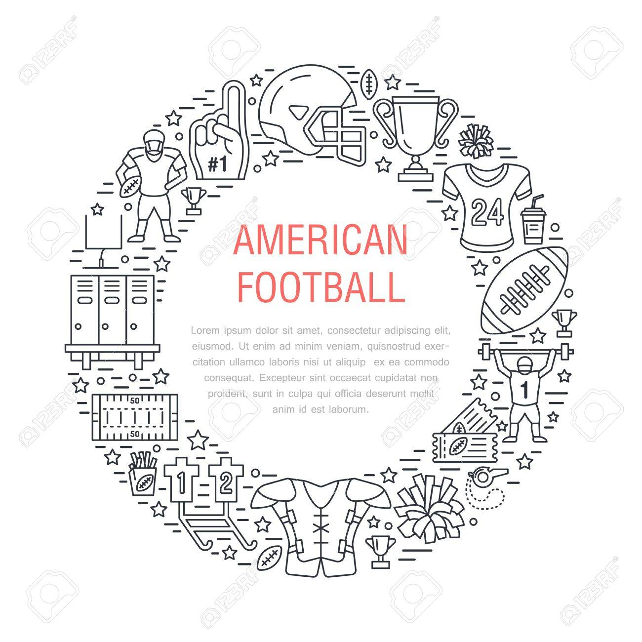 American football banner with line icons of ball, field, player, whistle, helmet and other sport equipment. Vector circle illustration for football championship poster. - 69584541