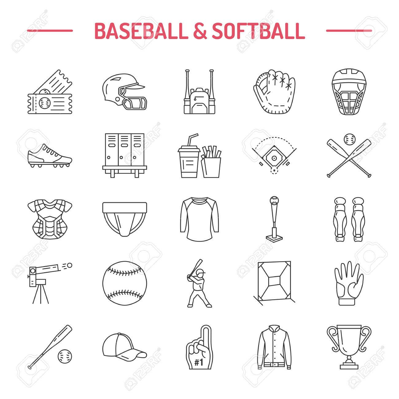 Baseball Softball Sport Game Vector Line Icons Ball Bat Field