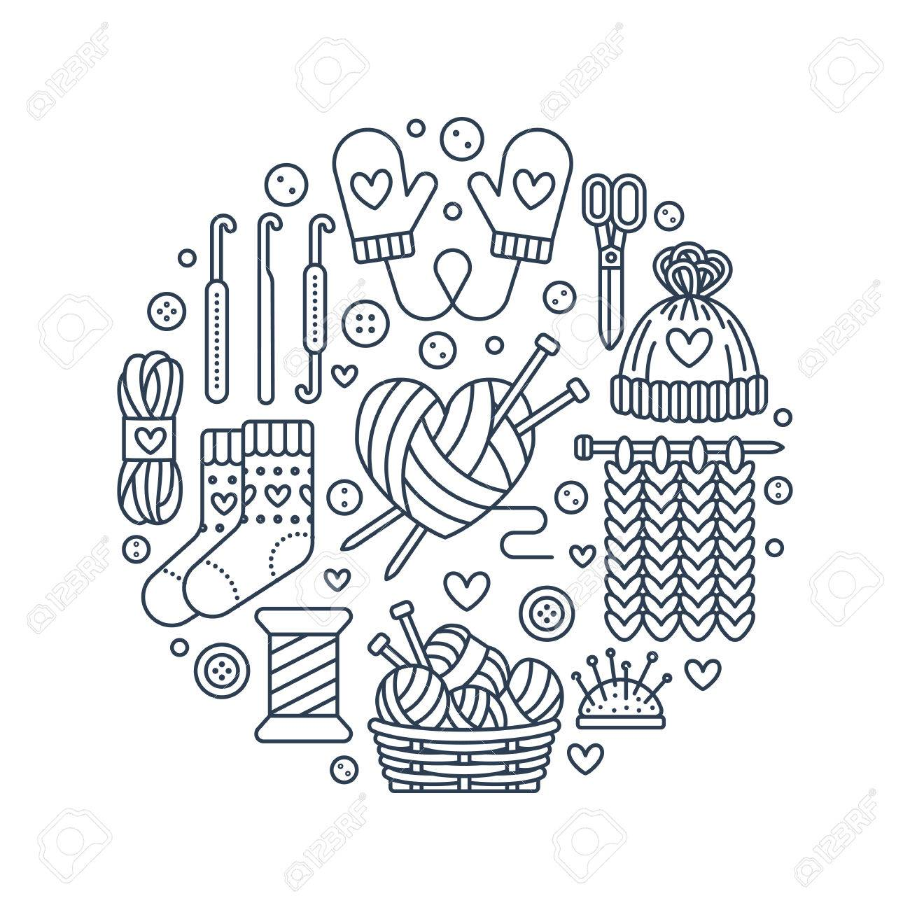 Knitting Crochet Hand Made Banner Illustration Vector Line Royalty Free Cliparts Vectors And Stock Illustration Image 71424158