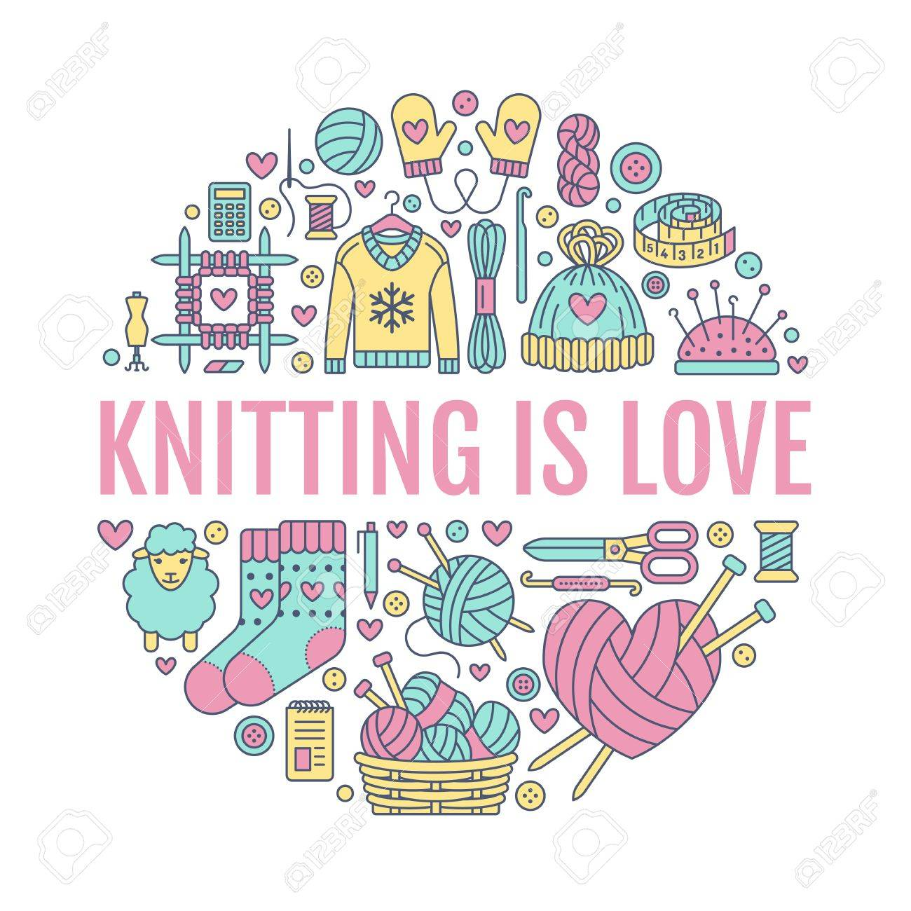 Knitting Crochet Hand Made Banner Illustration Vector Line Royalty Free Cliparts Vectors And Stock Illustration Image 70973395