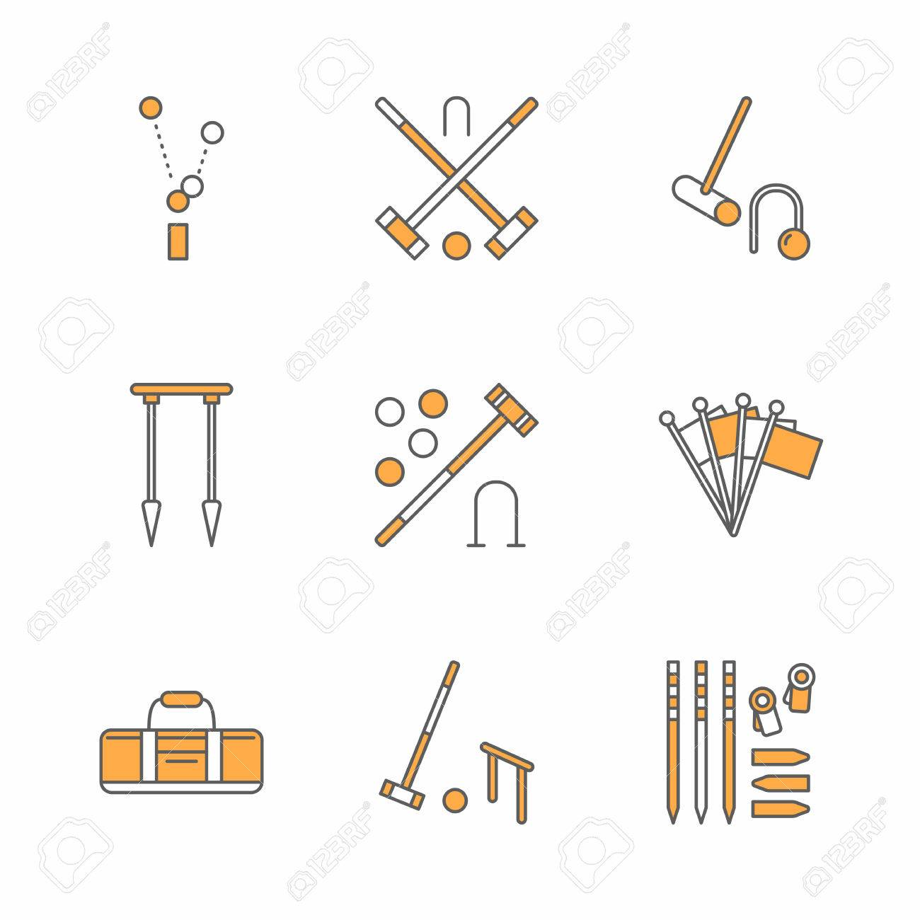 Croquet sport game vector line icons ball mallets hoops pegs croquet sport game vector line icons ball mallets hoops pegs corner pooptronica Image collections
