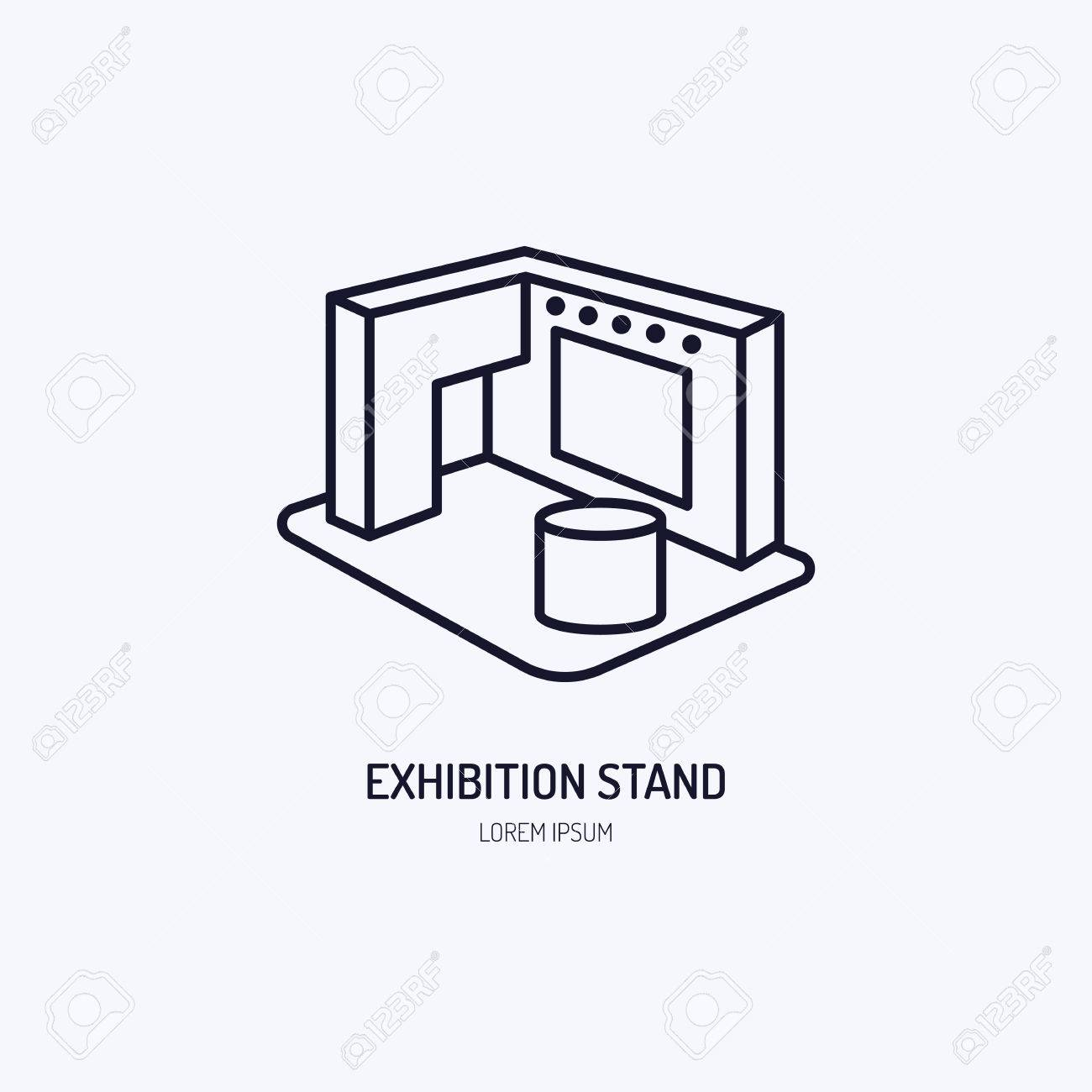 Exhibition banner stand vector line icon. Advertising sign. - 71633716