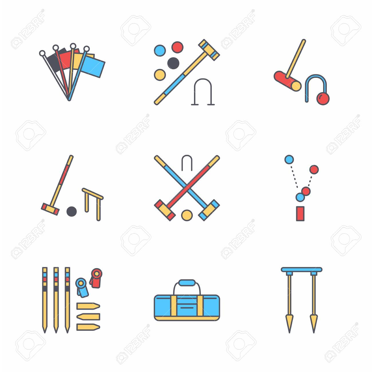 Croquet sport game vector line icons royalty free cliparts croquet sport game vector line icons stock vector 72319005 pooptronica Image collections