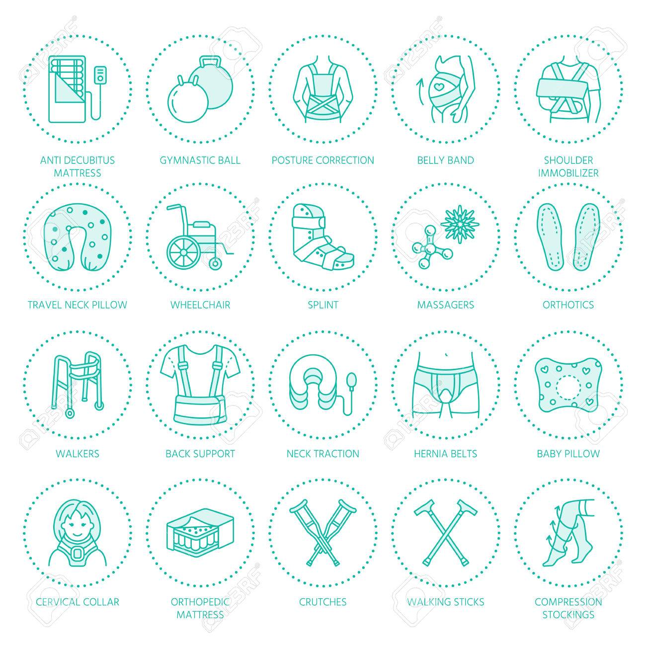 Orthopedic, trauma rehabilitation line icons. Crutches, orthopedics mattress pillow, cervical collar, walkers and other medical rehab goods. Health care thin linear signs for clinic and hospital. - 72847812