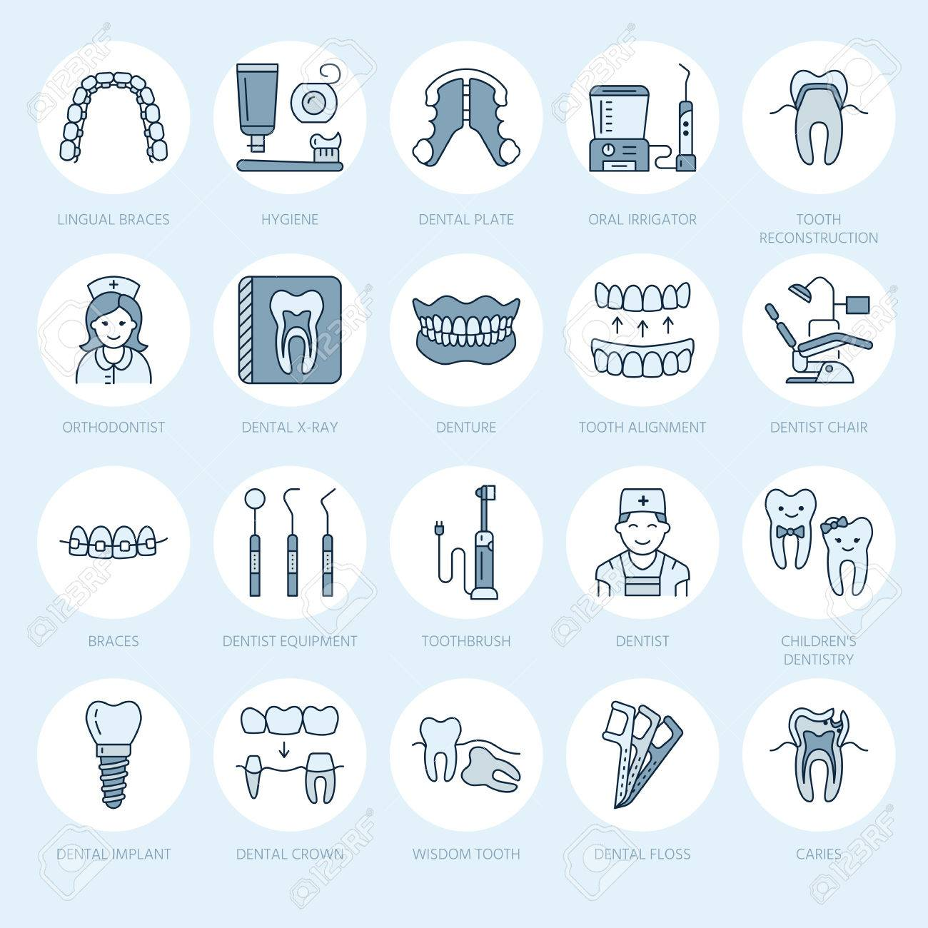 Dentist, orthodontics line icons. Dental care equipment, braces, tooth prosthesis, veneers, floss, caries treatment and other medical elements. Health care thin linear signs for dentistry clinic. - 72847826