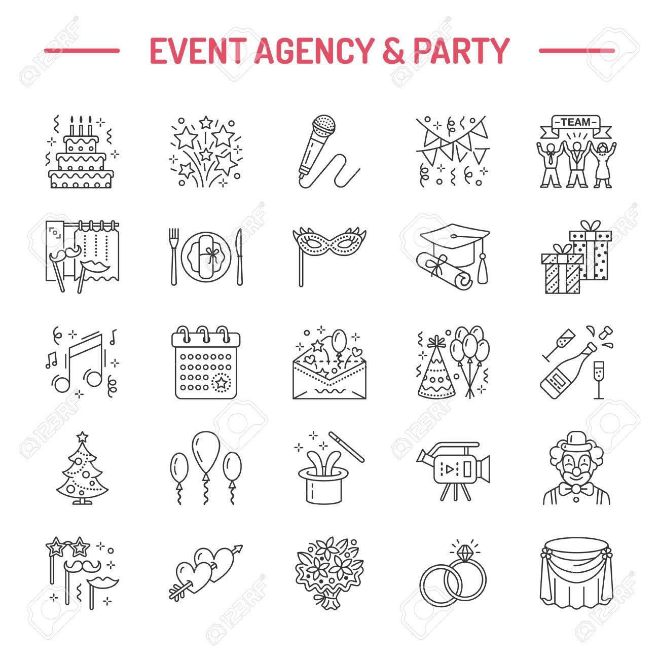 Event agency wedding organization line icon party service event agency wedding organization line icon party service catering birthday cake junglespirit Gallery
