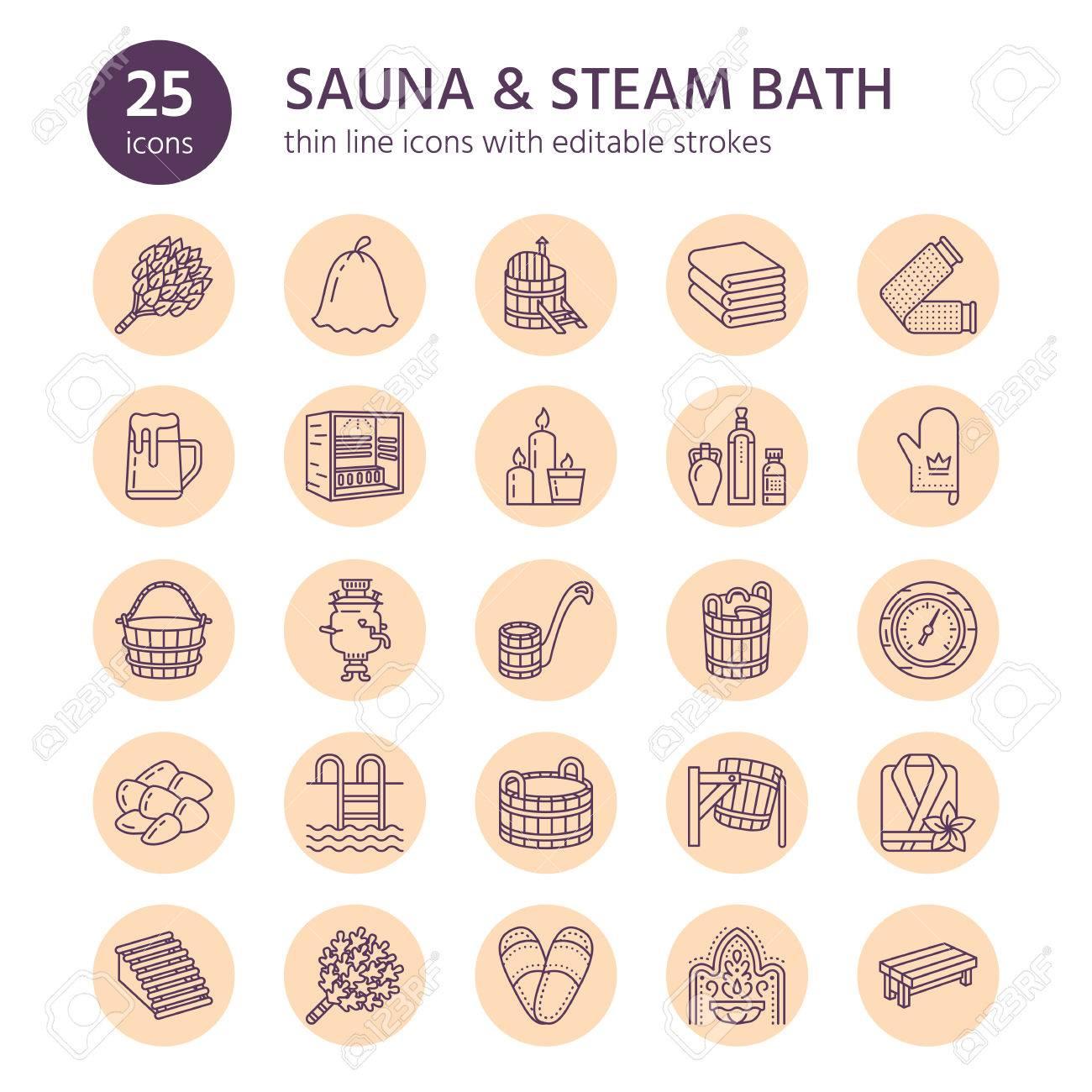 Sauna, Steam Bath Line Icons. Bathroom Equipment Birch, Oak Birch ...