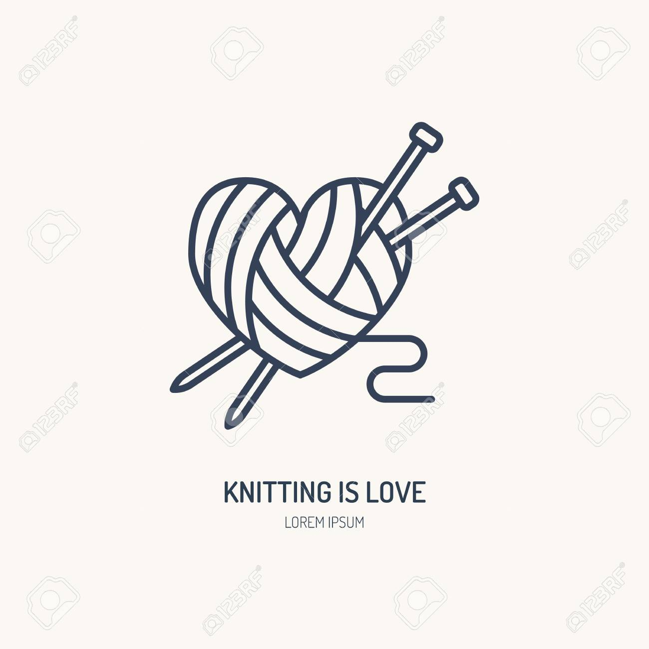 Knitting shop line logo. Yarn store flat sign, illustration of wool skeins with knitting needles. - 73652850