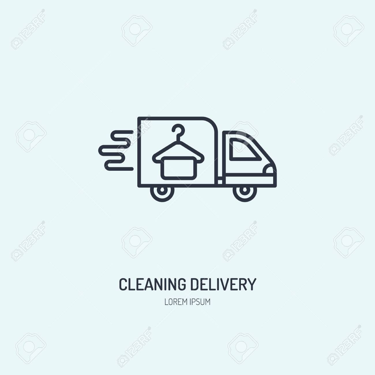 Delivery line icon, fast dry cleaning courier logo. Transportation flat sign, illustration for shipping business. - 74998115