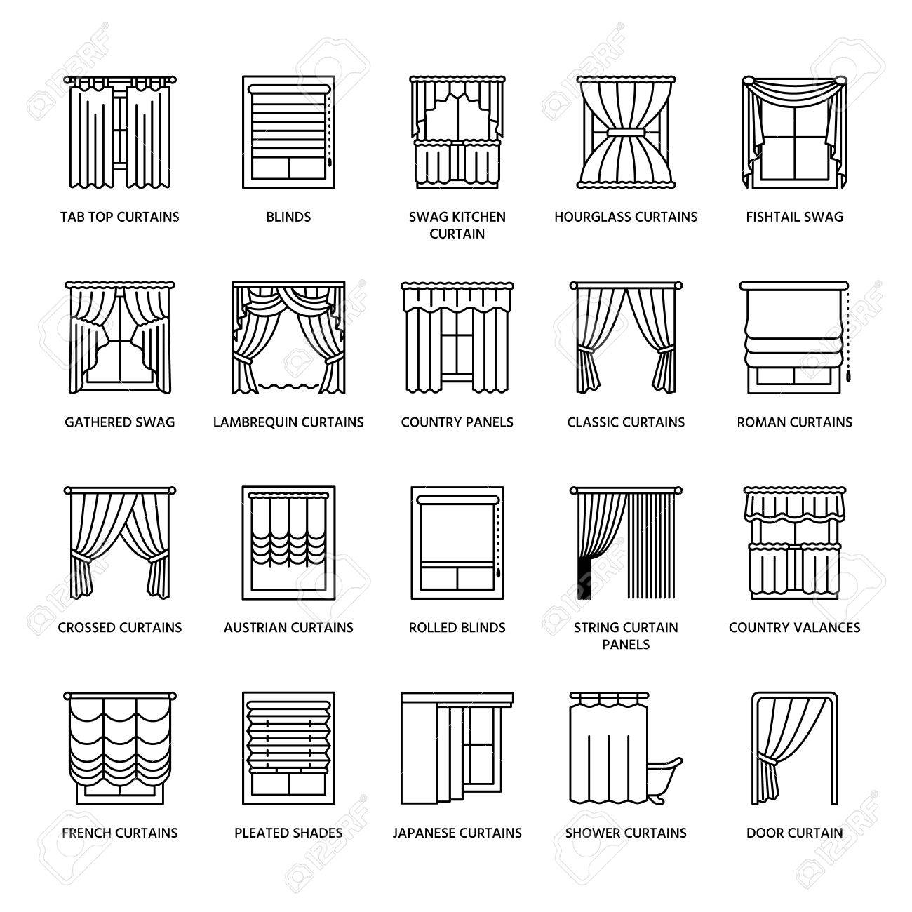 Window curtains, shades line icons. Various room darkening decoration, lambrequin, swag, french curtain, blinds and rolled panels. Interior design thin linear signs for house decor shop. - 76390645