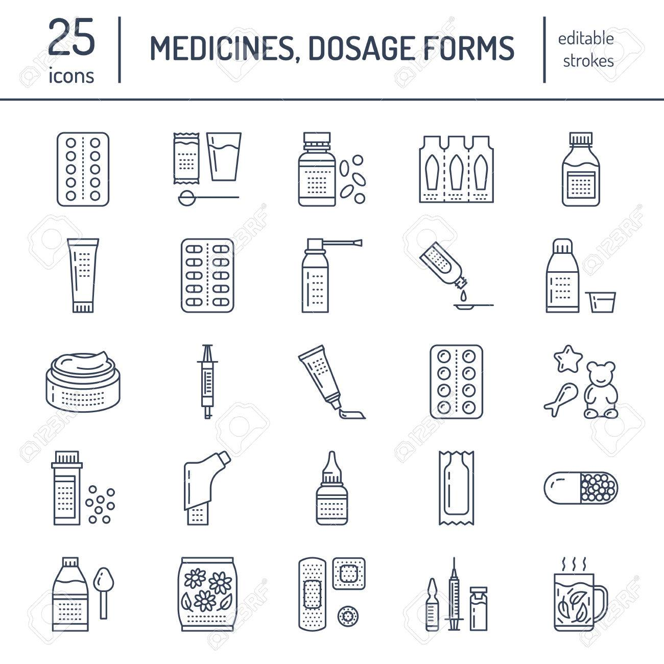 Medicines, dosage forms line icons. Pharmacy medicaments, tablet, capsules, pills, antibiotics, vitamins, painkillers, aerosol spray. Medical threatment health care thin linear signs for drug store - 76390562