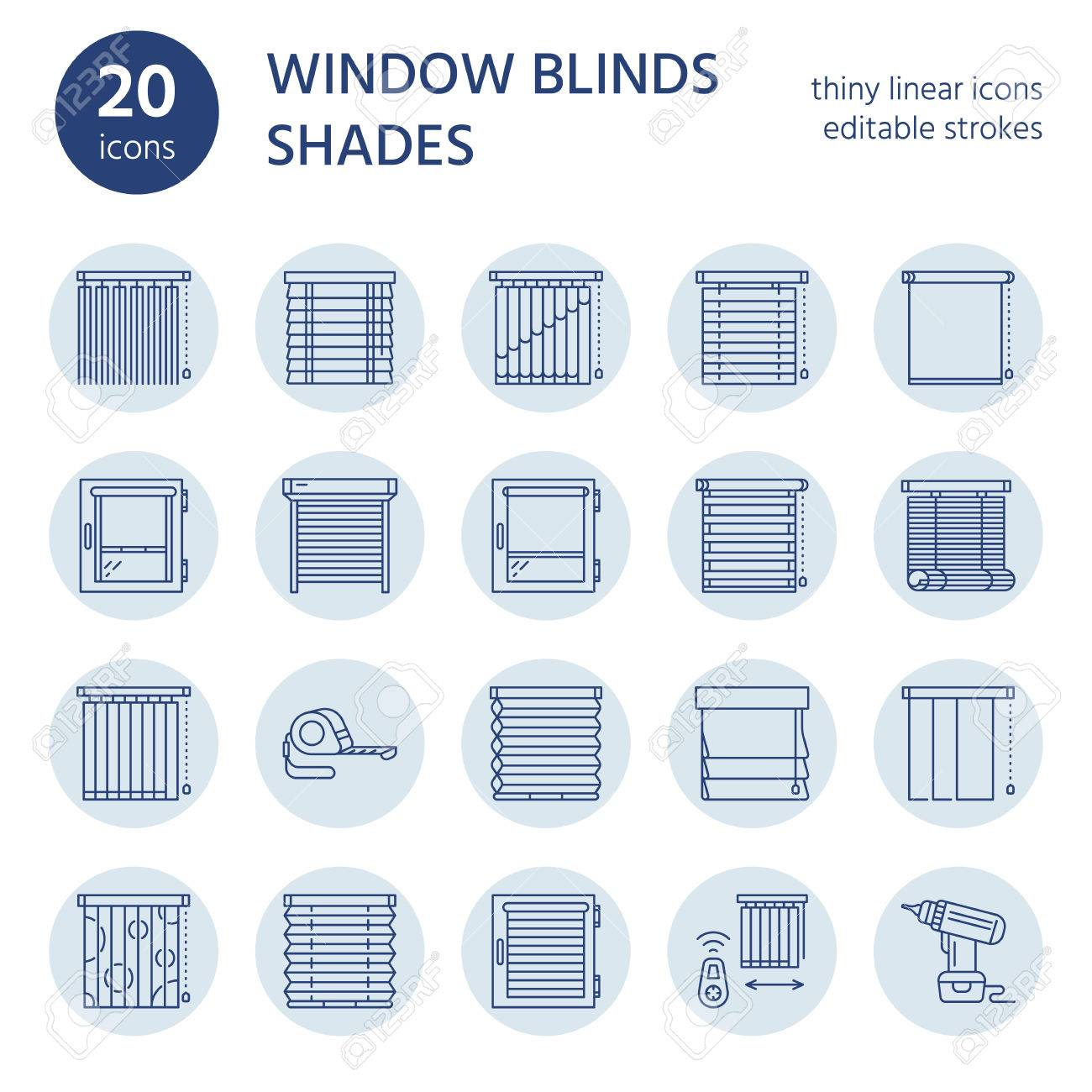 Window blinds, shades line icons. Various room darkening decoration, roller shutters, roman curtains, horizontal and vertical jalousie. Interior design thin linear signs for house decor shop. - 76428898