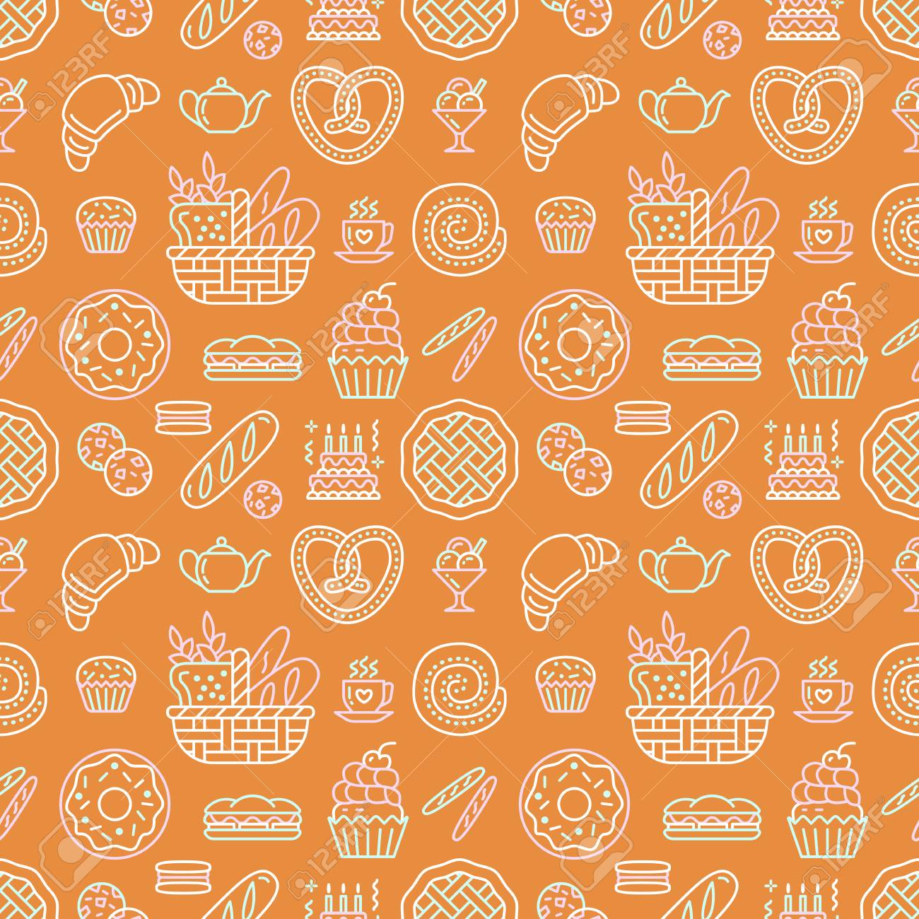 Bakery seamless pattern, food vector background of beige orange