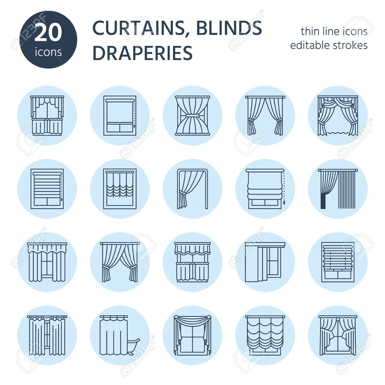 Window curtains, shades line icons. Various room darkening decoration, lambrequin, swag, french curtain, blinds and rolled panels. Interior design thin linear signs for house decor shop. - 76779557