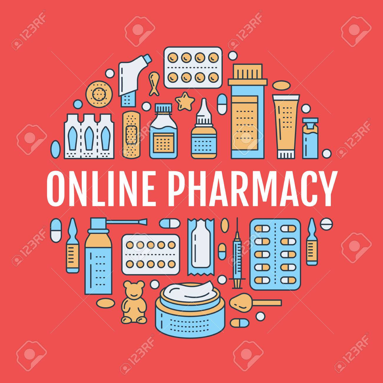 Medical, drugstore poster template. Vector medicament line icons, illustration of dosage forms - tablet, capsules, pills. Medicines antibiotics, vitamins. Healthcare banner with text online pharmacy. - 76779565