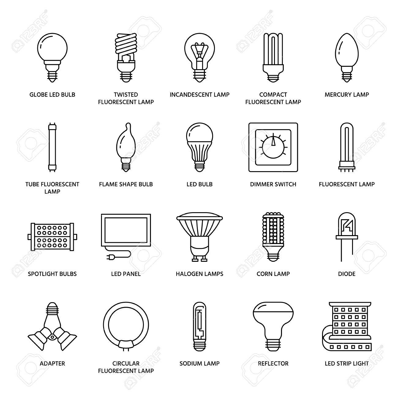 señales iluminacionesDelgadas bombillasTipos líneas y planas de de de Ledfluorescentesfilamentoshalógenosdiodos lámparas Iconos otras 4AL35Rjq