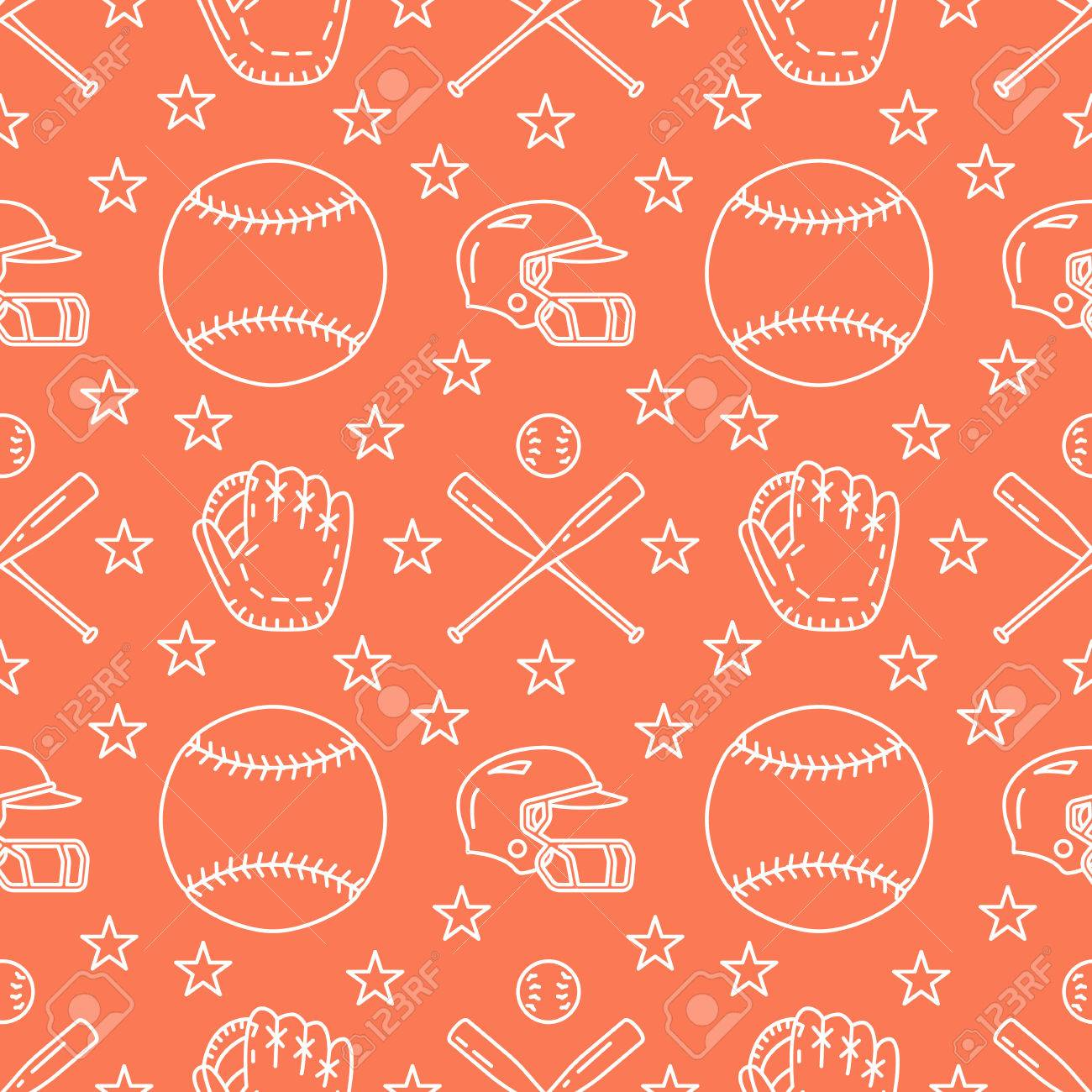 Baseball, softball sport game vector seamless pattern, orange background with line icons of balls, player, gloves, bat, helmet. Flat signs for championship, equipment store. - 78853256