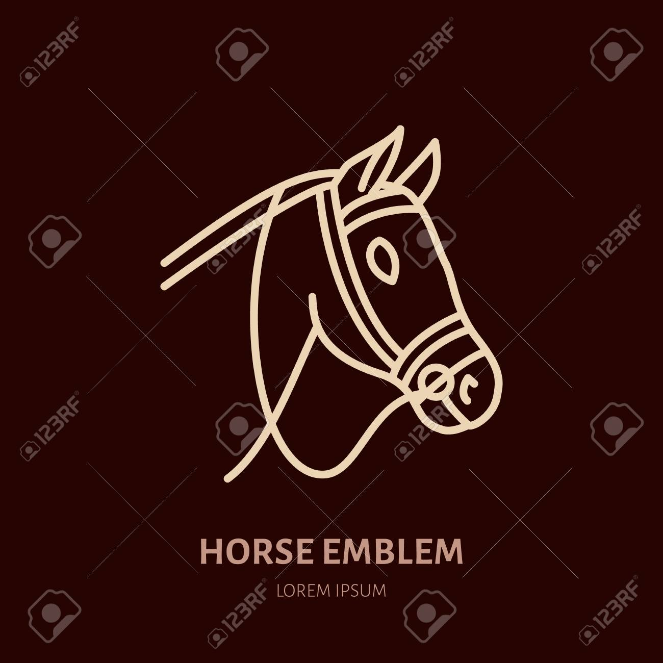 Horse Cute Pony Flat Line Icon Logo For Equestrian Club Horserace Royalty Free Cliparts Vectors And Stock Illustration Image 79573903