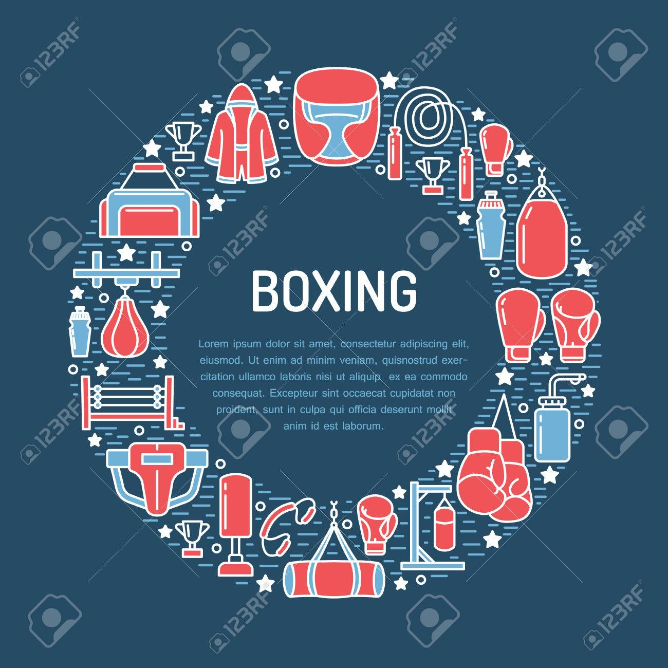 Boxing Poster Template Vector Sport Training Line Icons Circle
