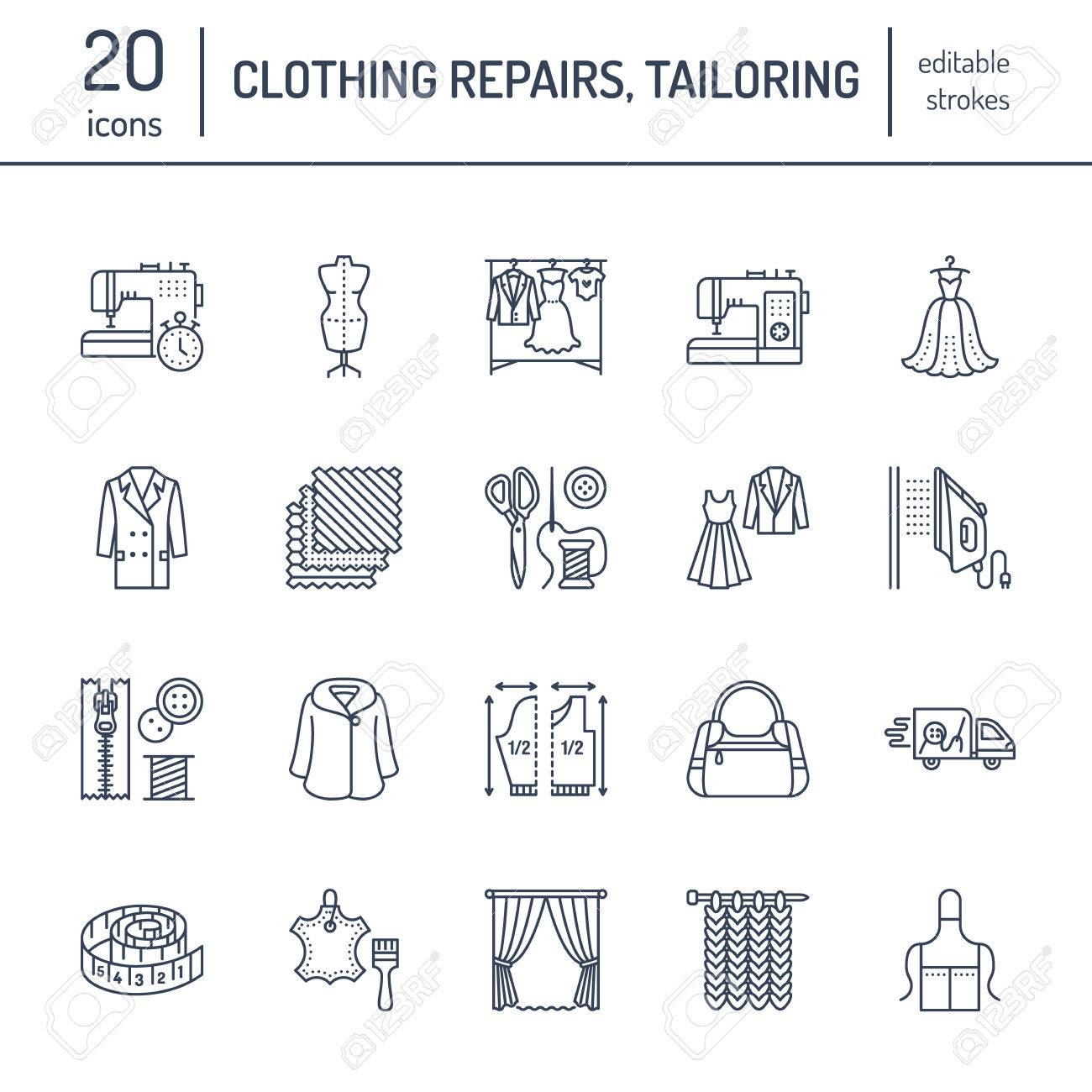 Clothing repair, alterations flat line icons set. Tailor store services - dressmaking, clothes steaming, curtains sewing. Linear signs set, logos for atelier. - 80108858
