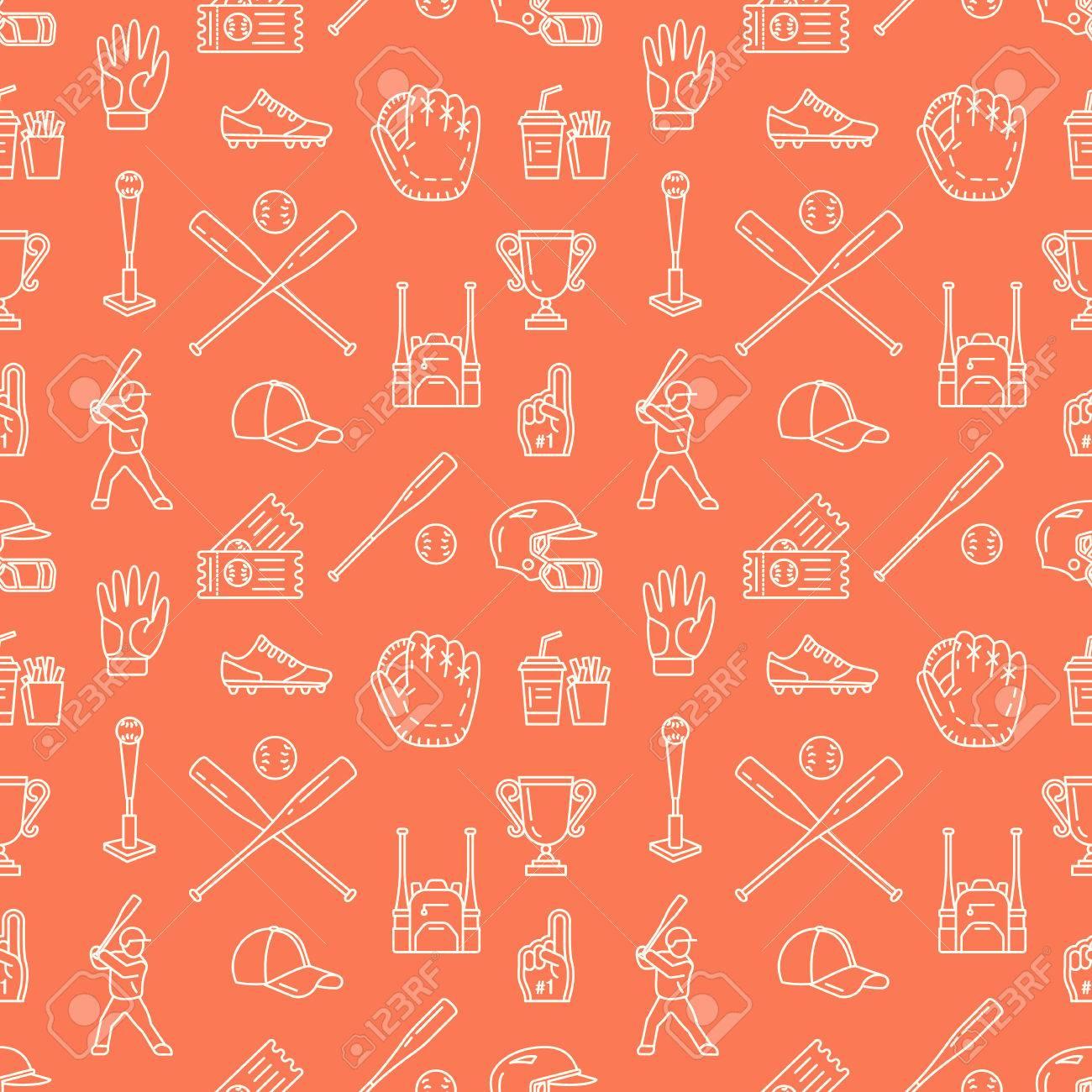 Baseball, Softball Sport Spiel Vektor Nahtlose Muster, Hintergrund ...