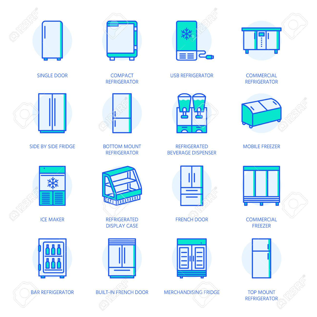 Refrigerators flat line icons. Fridge types, freezer, wine cooler, commercial major appliance, refrigerated display case. Thin linear colored signs for household equipment shop. - 80266772