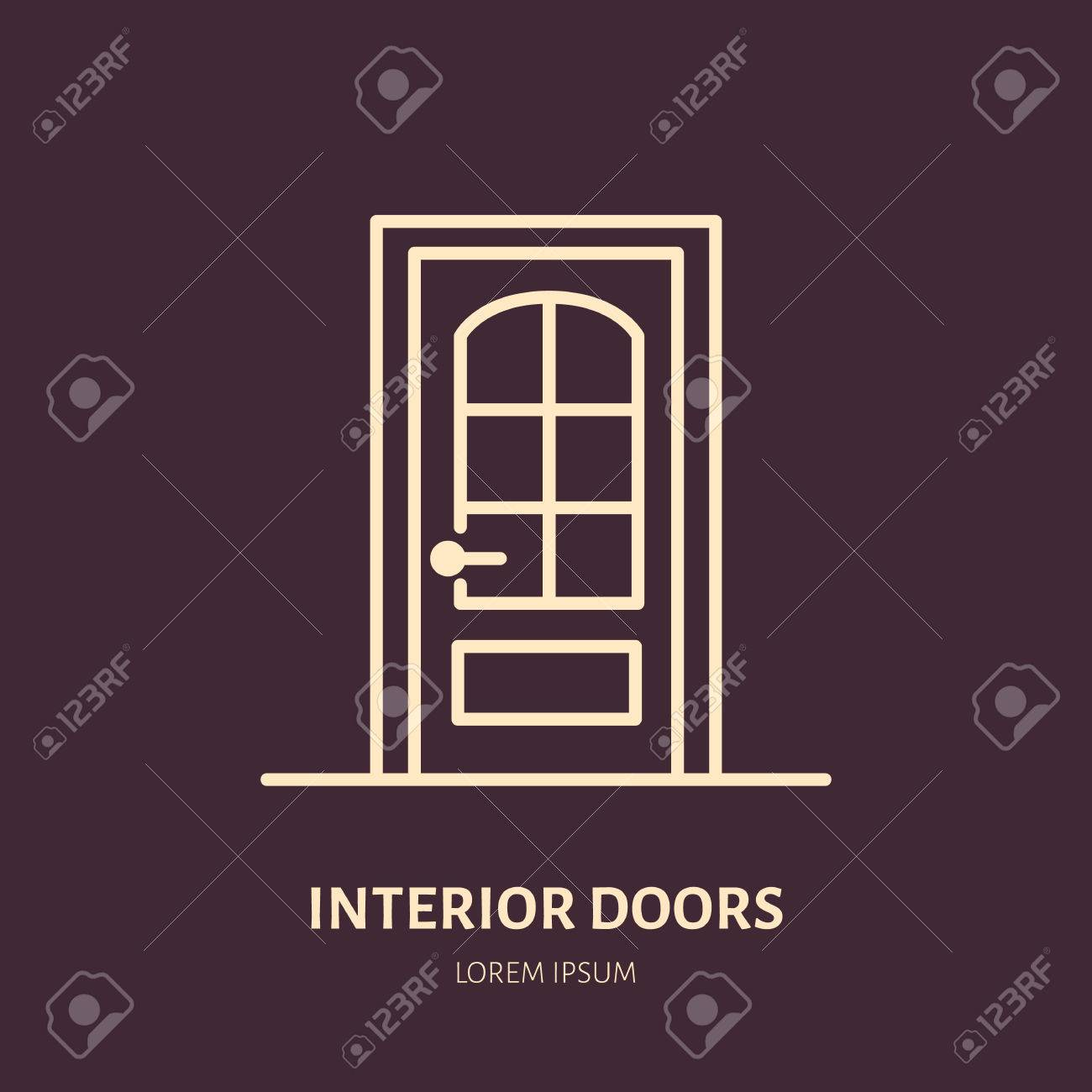 Doors Installation Logo, Repair Flat Line Icon. Interior Design Thin Linear  Sign For House