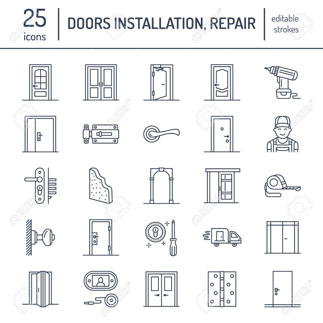 Doors installation repair line icons. Various door types handle latch lock