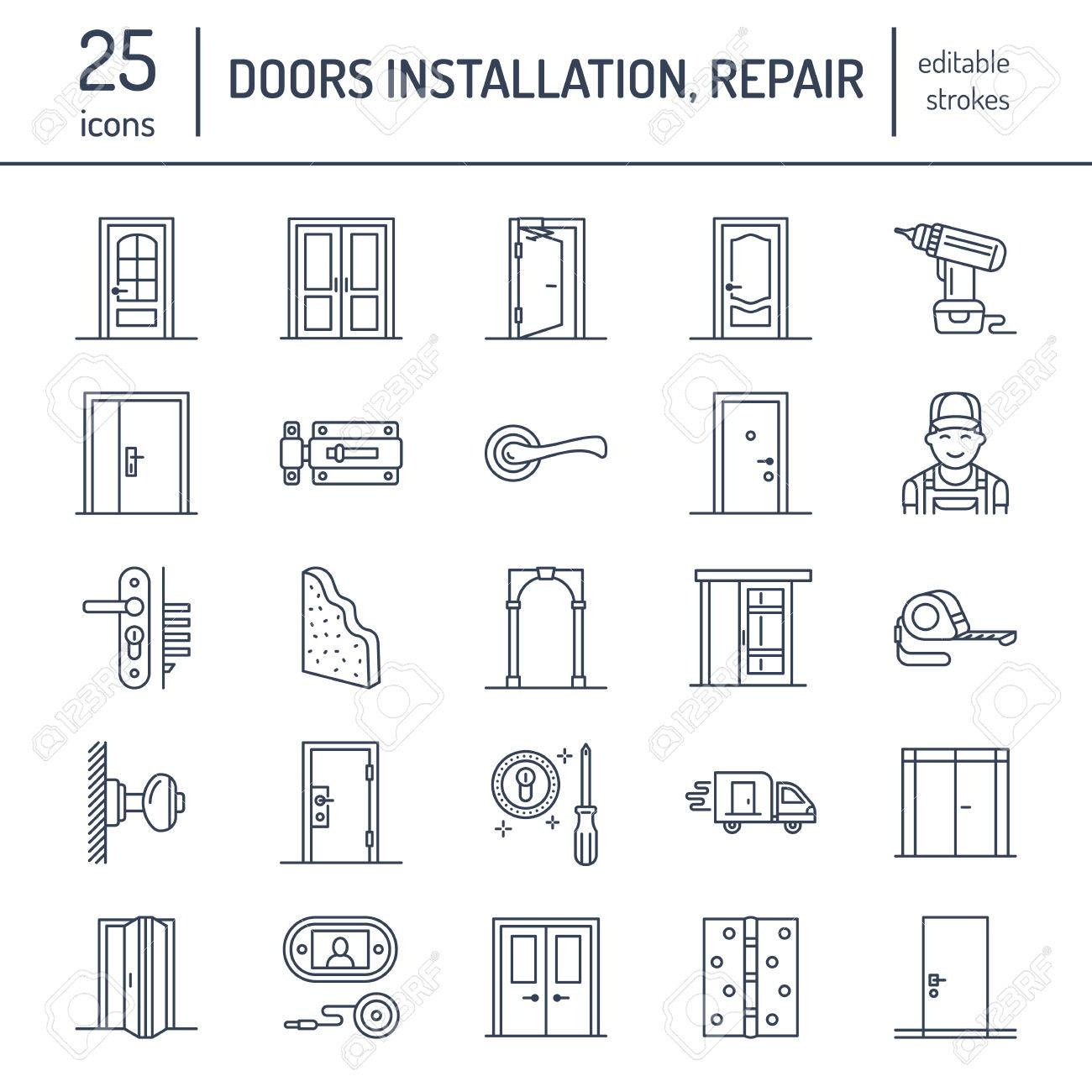 Doors installation, repair line icons. Various door types, handle, latch, lock, hinges. Interior design thin linear signs for house decor shop, handyman service. - 80570641