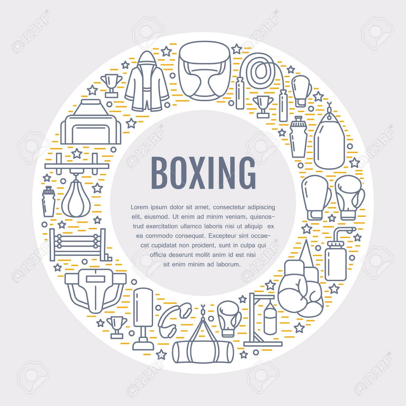 Boxing Poster Template. Vector Sport Training Line Icons, Circle ...