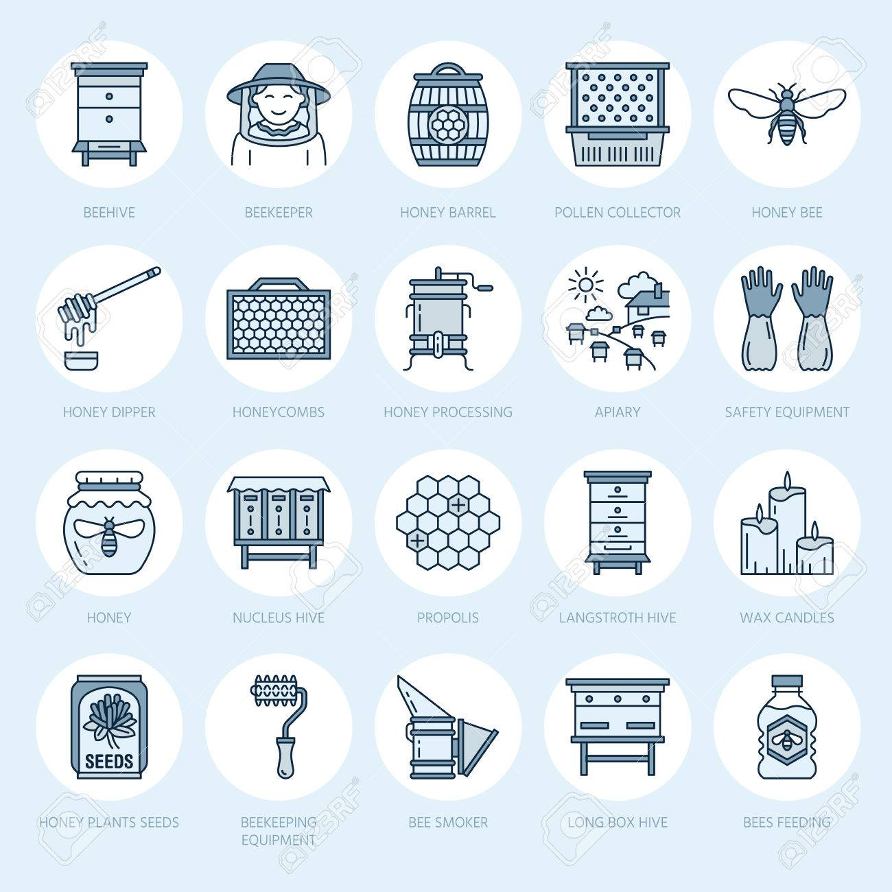 Beekeeping, apiculture line icons. Beekeeper equipment, honey processing, honeybee, beehives types, natural products. Bee-garden thin linear signs for organic farm shop. - 80952347