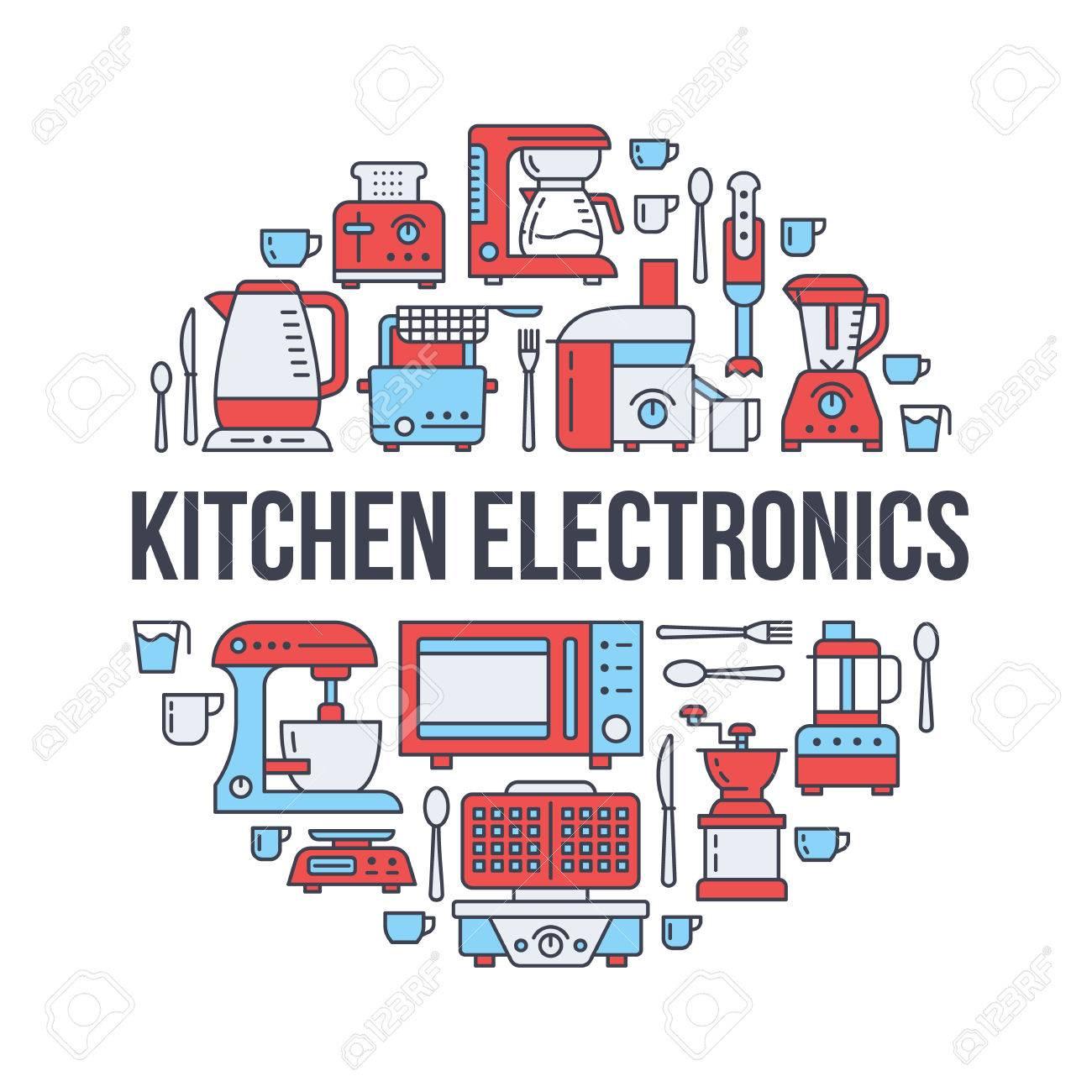 Kitchen Small Appliances Equipment Banner Illustration. Vector ...