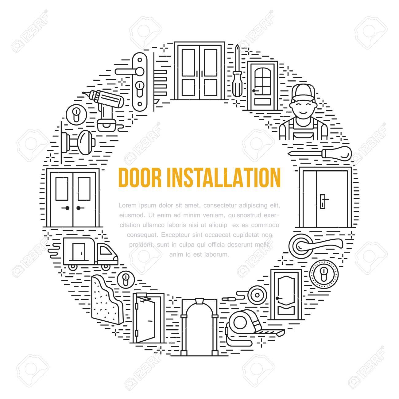 Türinstallationszeichen, Reparaturfahnenillustration. Vector ...