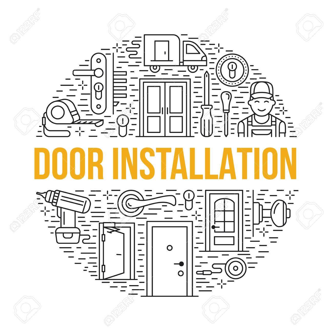 Doors Installation, Repair Banner Illustration. Vector Line Icons ...