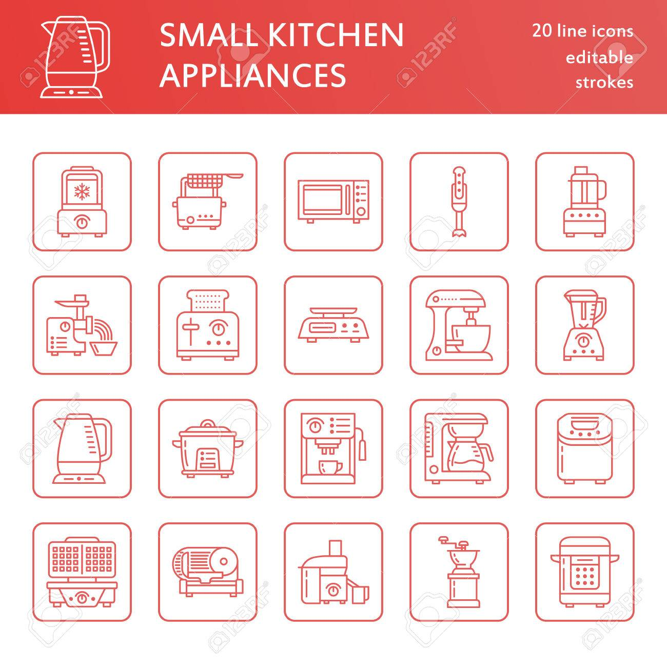 Kitchen Small Appliances Line Icons. Household Cooking Tools.. Stock ...