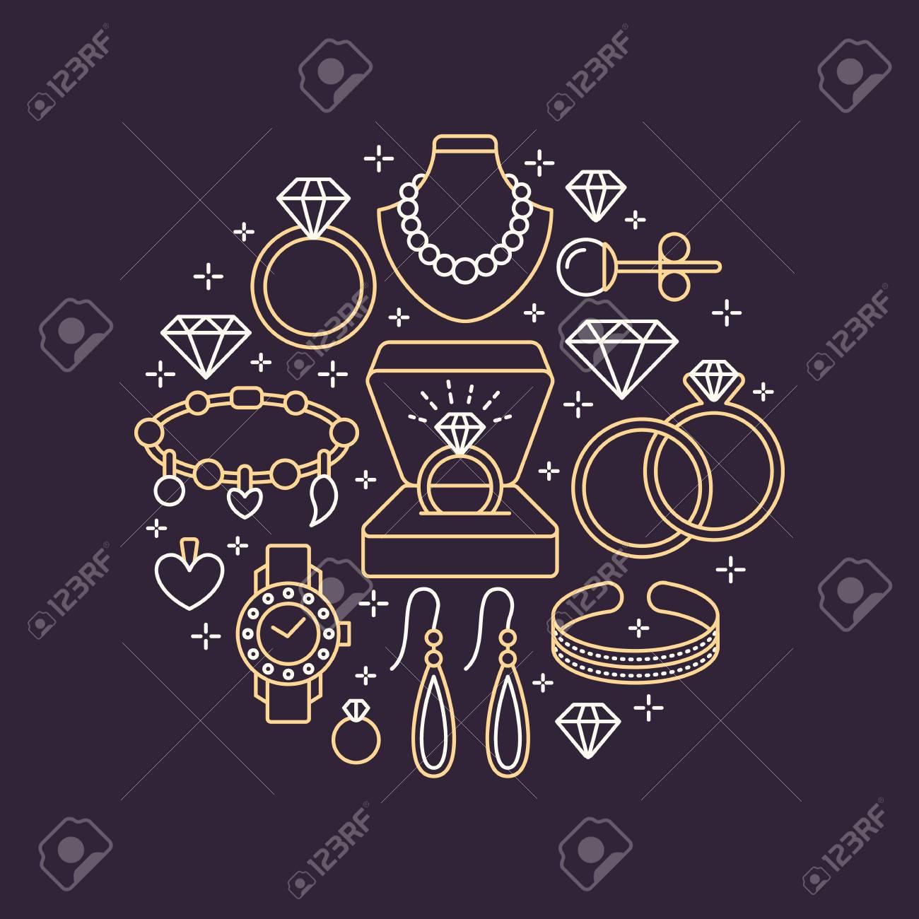6ed50e09d7c Tienda De Joyas, Accesorios De Diamantes Ilustración De Banner. Vector  Línea Icono De Joyas - Relojes De Oro, Anillos De Compromiso, Pendientes De  Gemas, ...